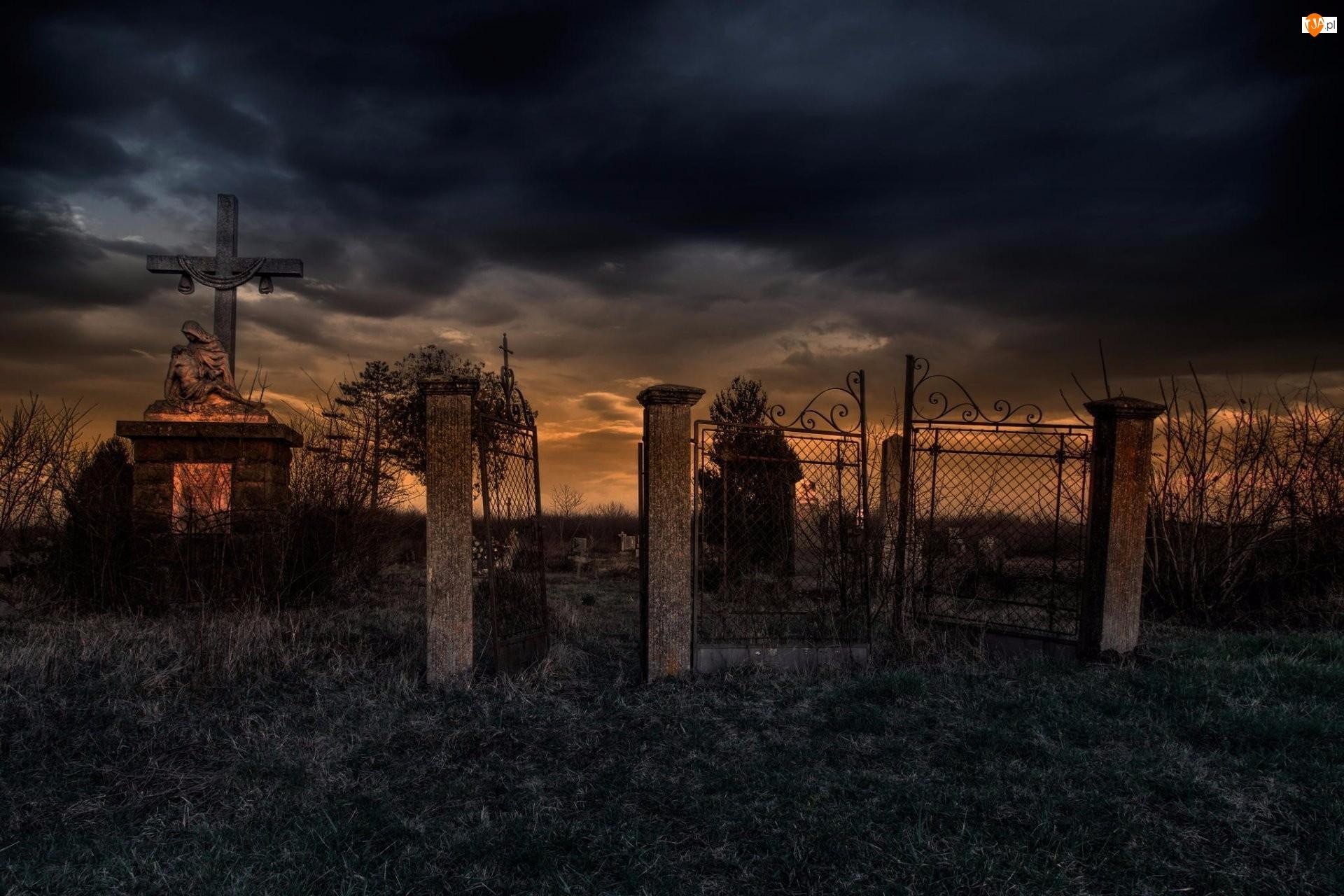 Cmentarz, Zachód słońca, Groby, Brama