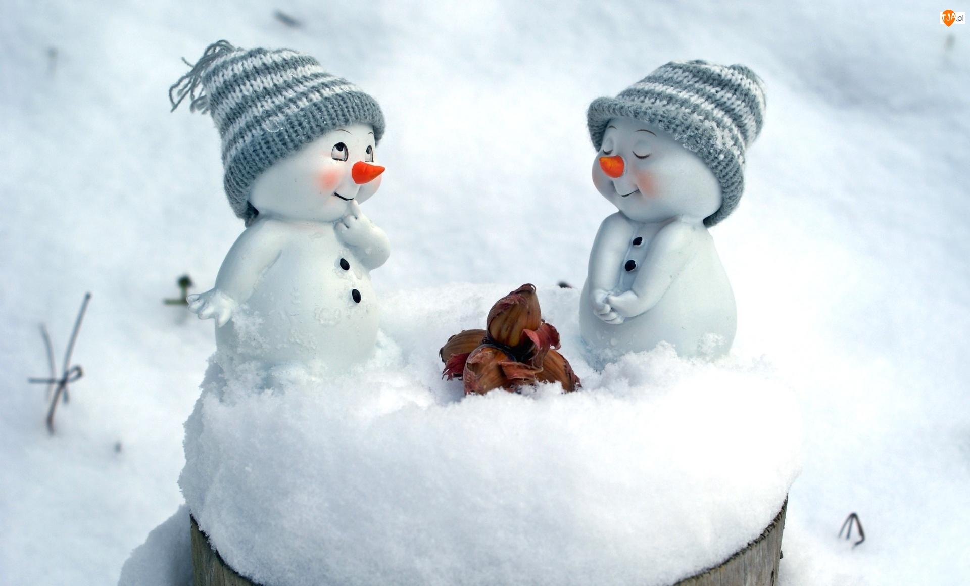 Czapeczki, Śnieg, Bałwanki