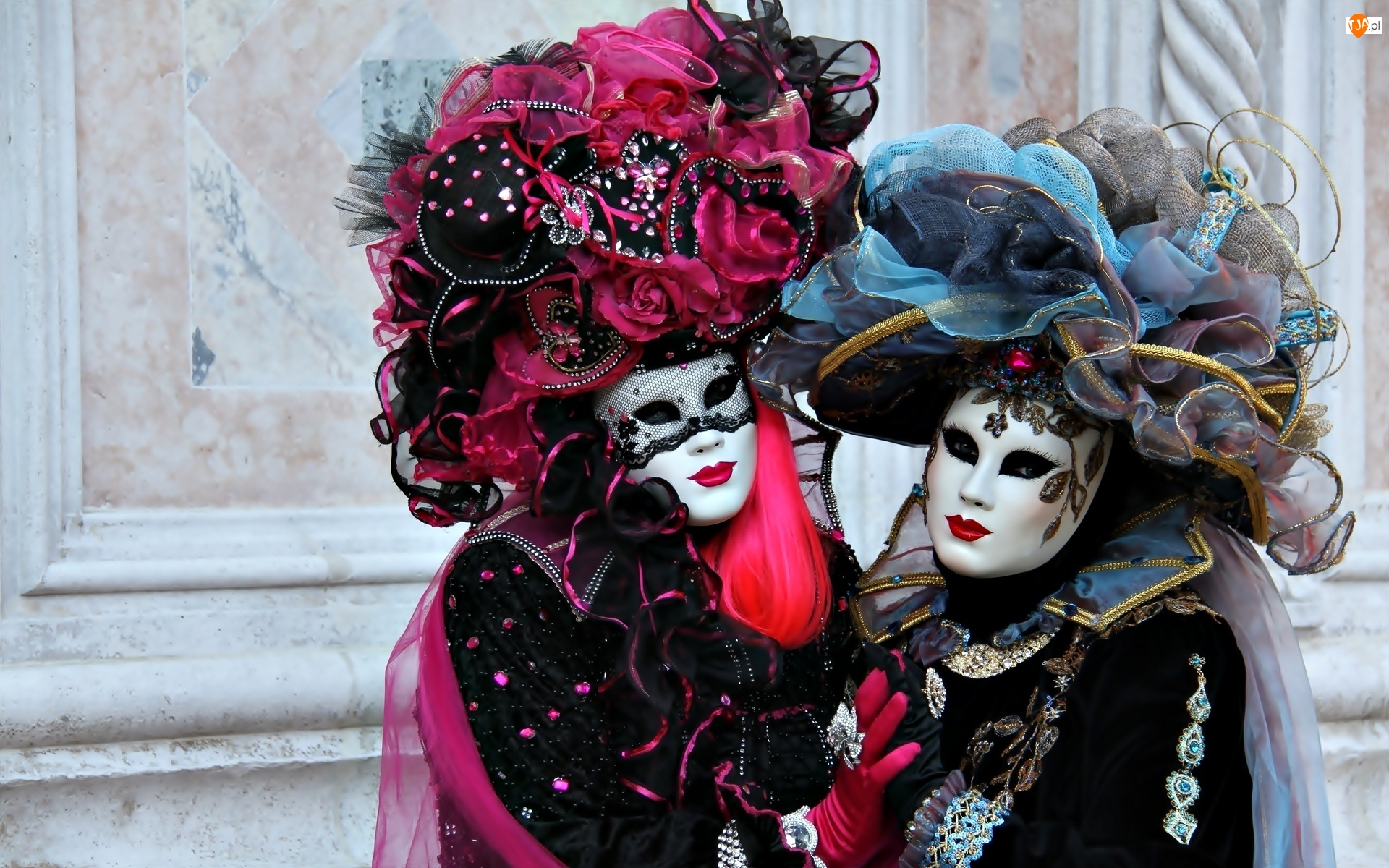 Dwie, Weneckie, Kobiety, Maski