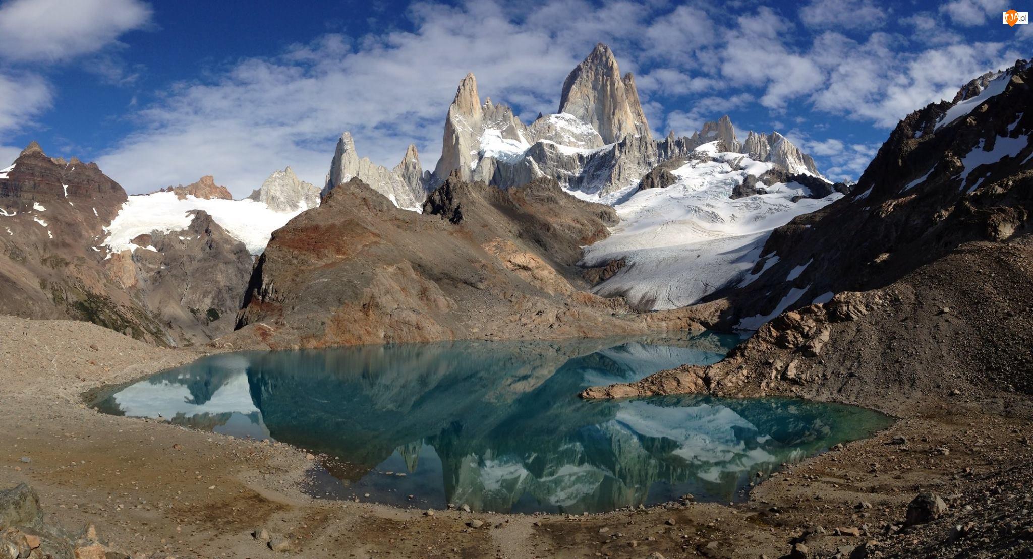 Jezioro, Niebo, Góry, Śnieg