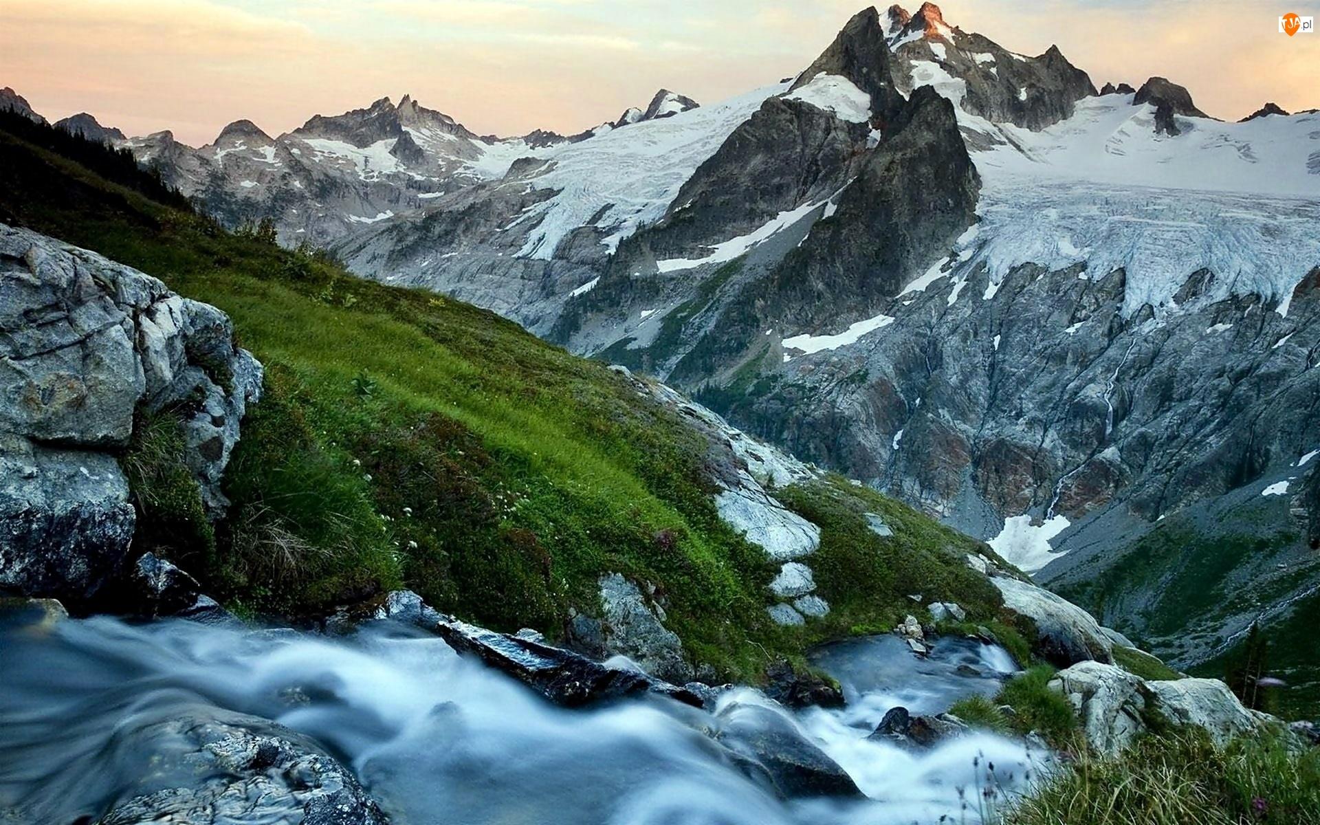 Lodowiec, Łąka, Patagonia, Potok, Góry, Kanion