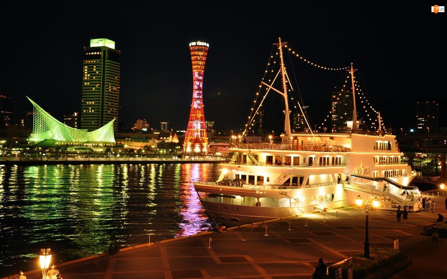 Japonia, Noc, Kobe, Jacht