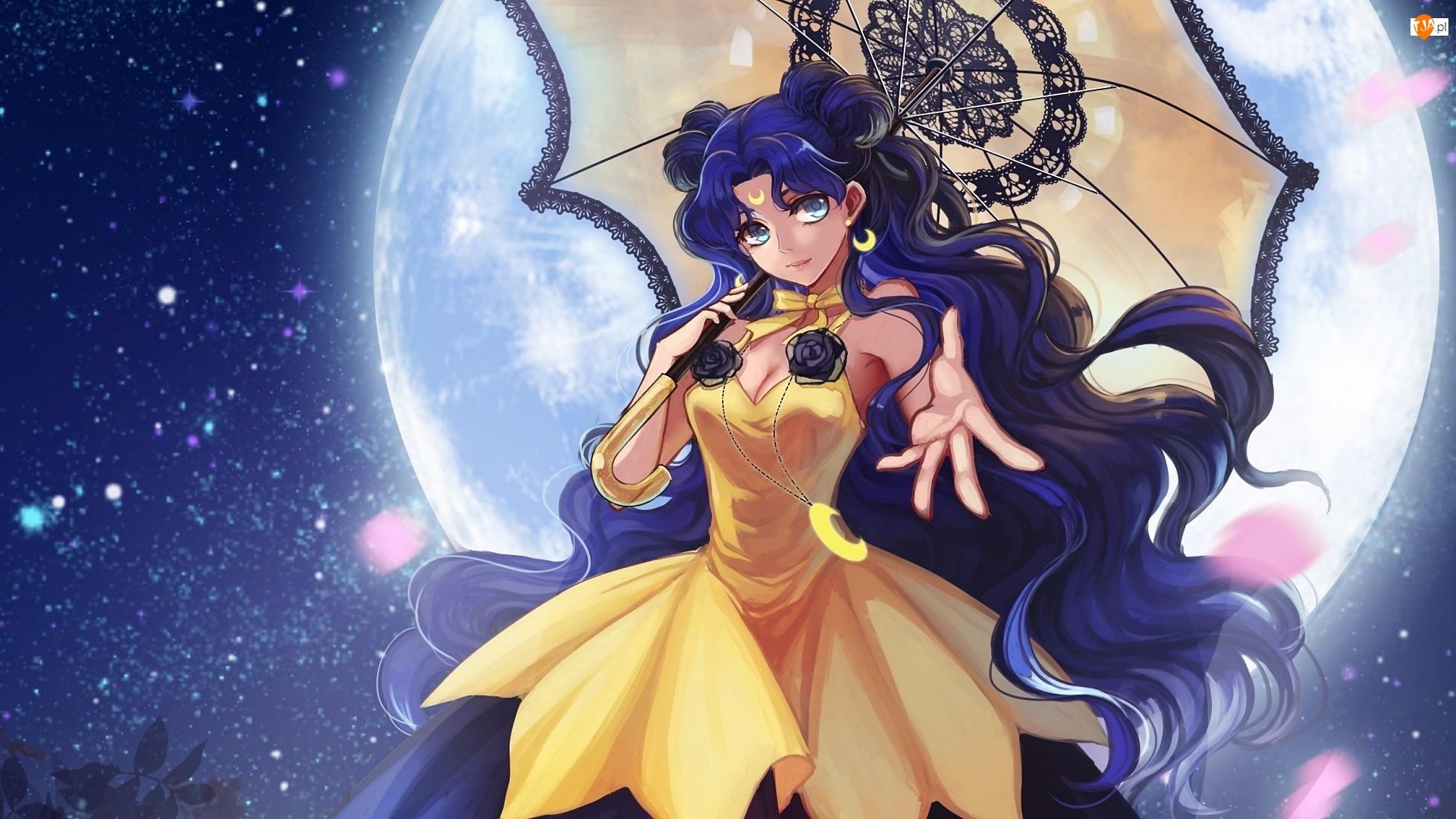 Manga Anime, Księżyc, Dziewczyna, Parasolka