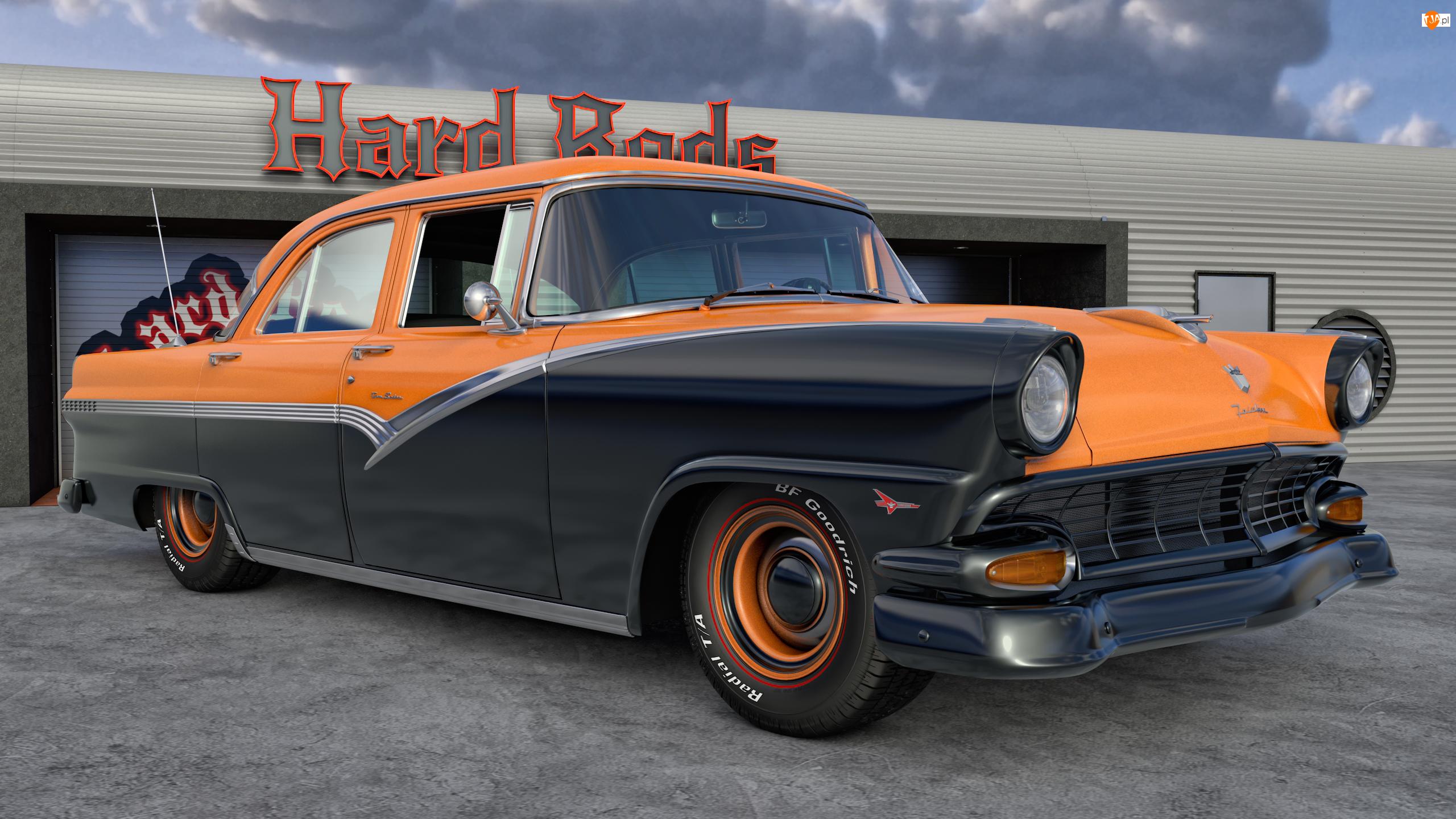 Zabytkowy, 1956, Pomarańczowo-czarny, Ford Fairlane Town Sedan