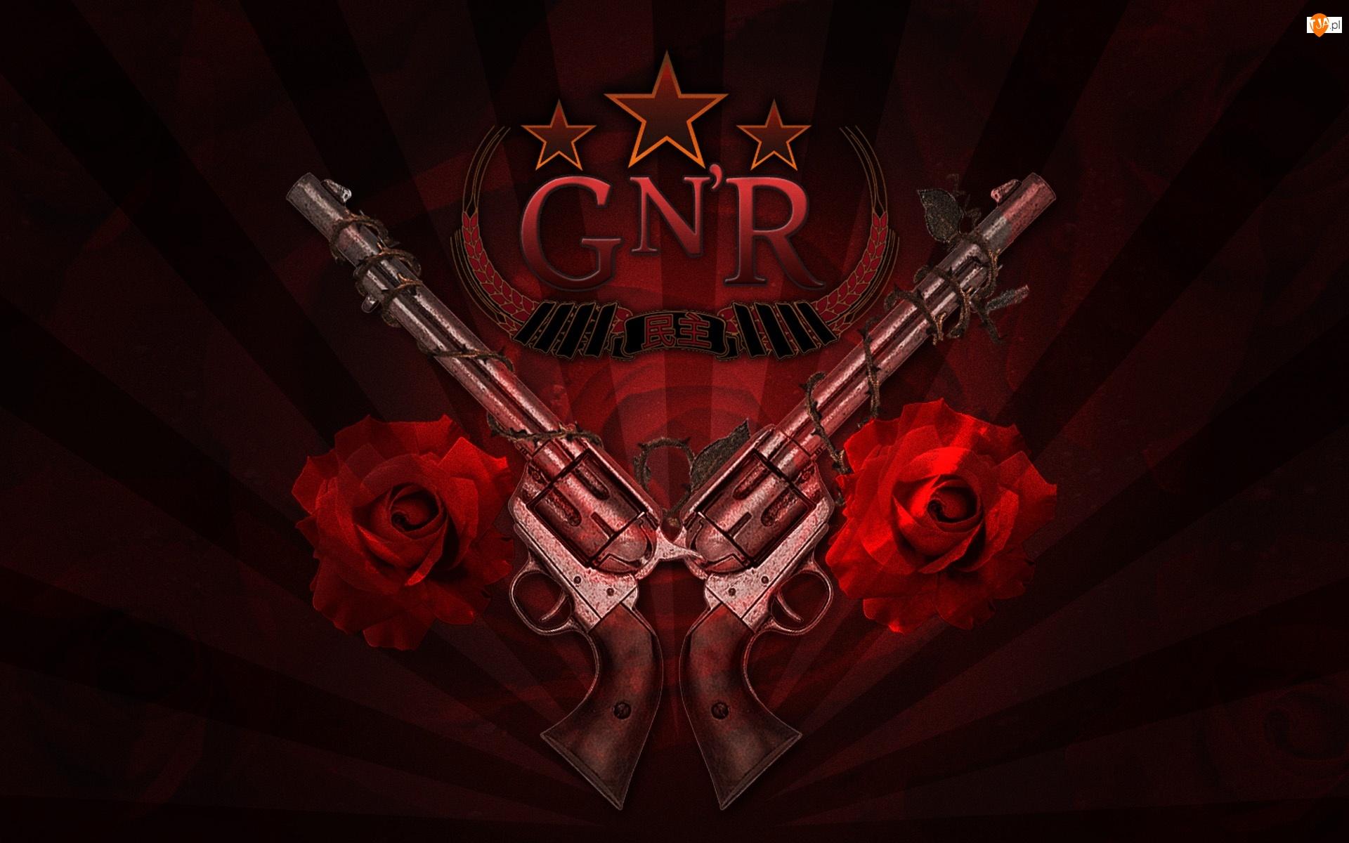 Guns And Roses, róże, logo, pistolety