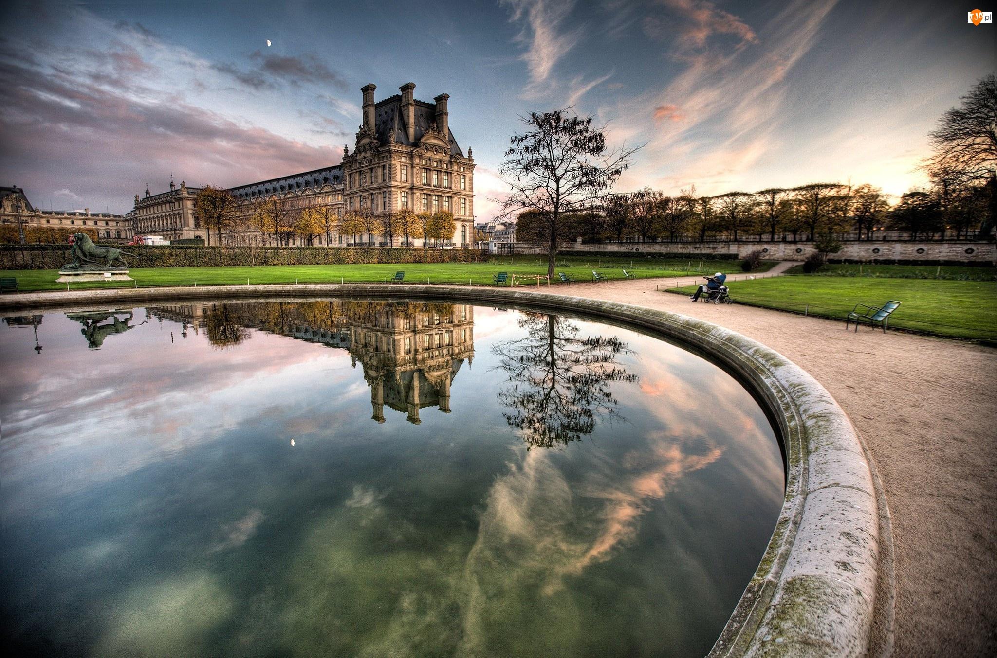 Muzeum, Fontanna, Paryż, Odbicie, Luwr, Woda