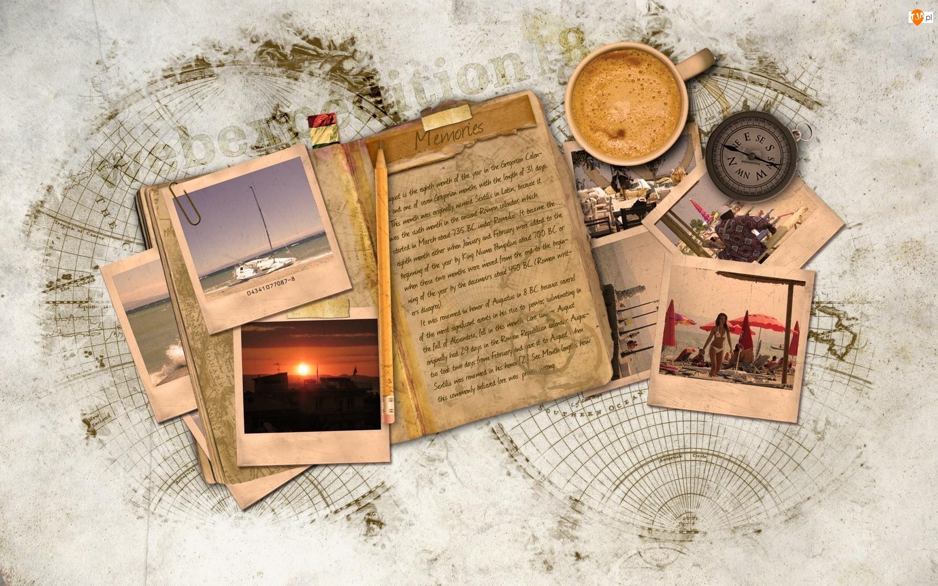 Zdjęcia, Kompas, Ołówek, Kawa