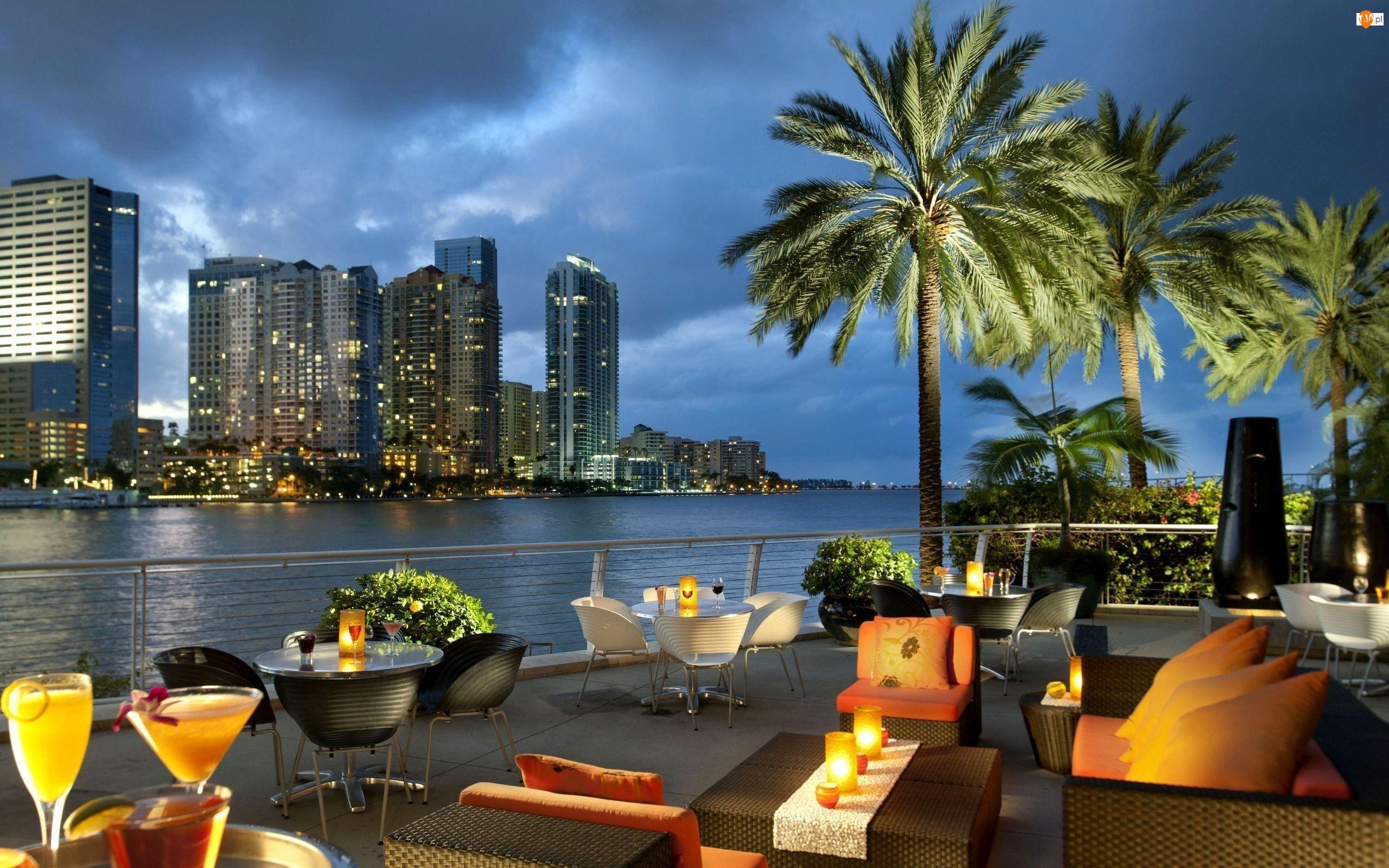Restauracja, Floryda Drapacze chmur, Panorama, Miami