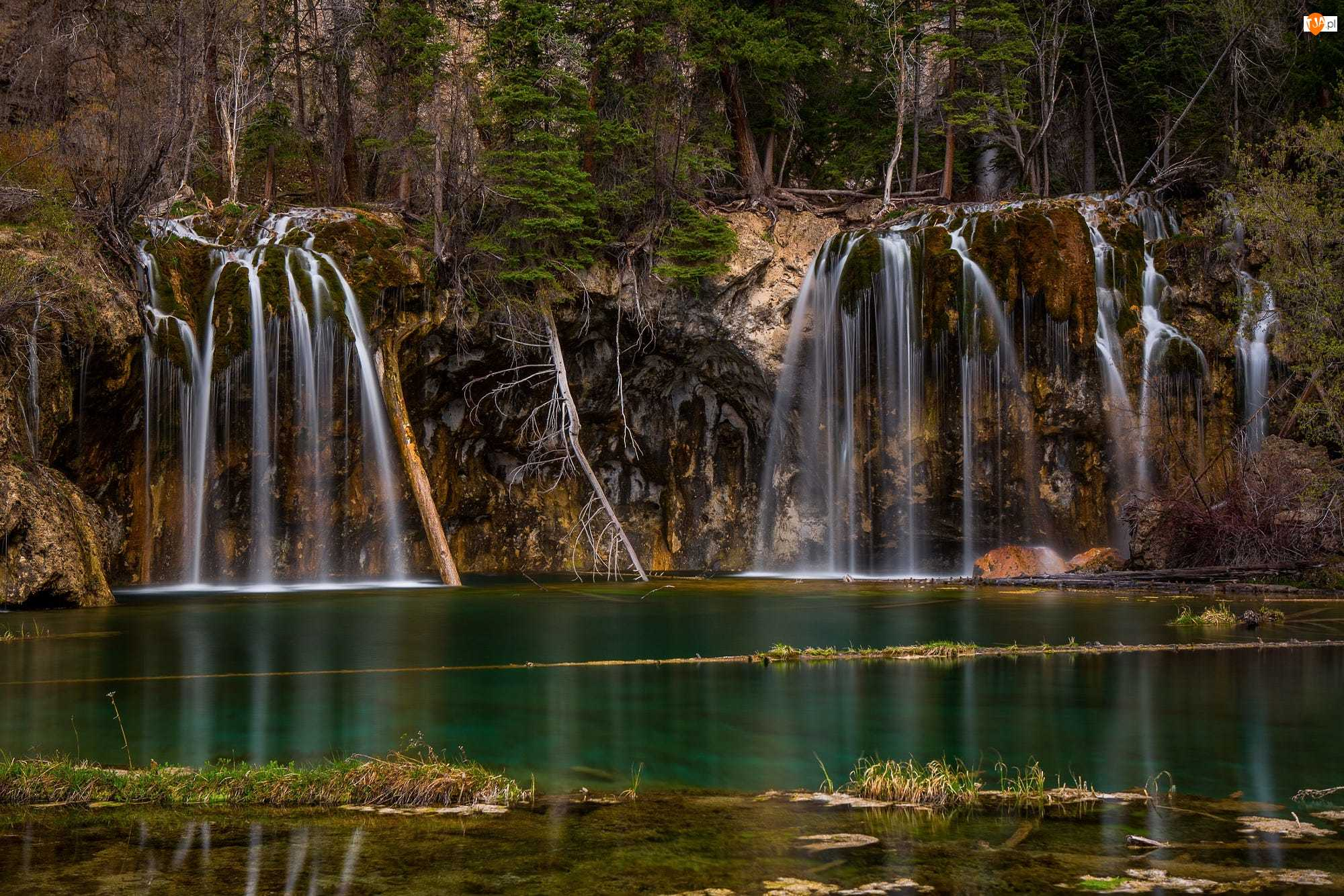 Glenwood Canyon, Wodospady, Stany Zjednoczone, Drzewa, Stan Kolorado, Jezioro Hanging Lake