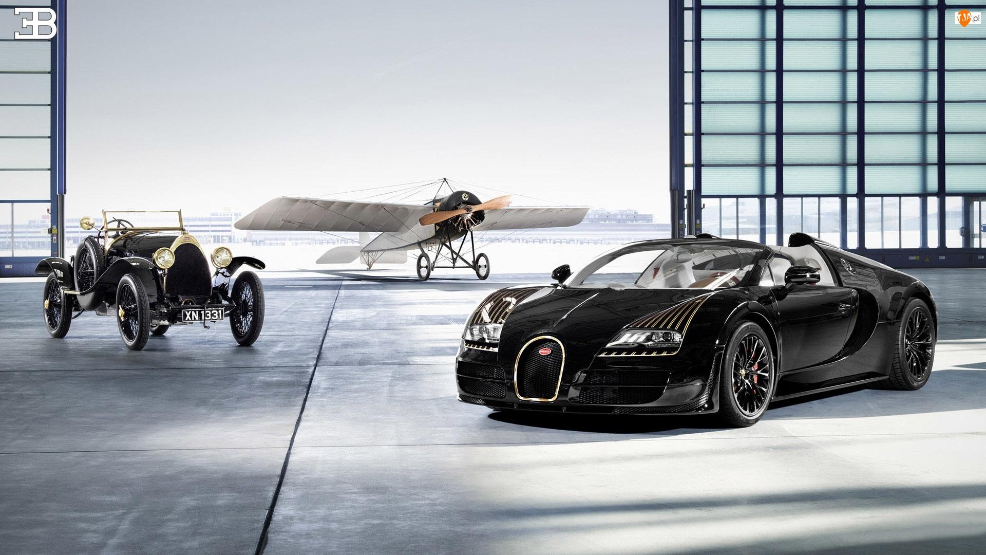 Samolot, Hangar, Zabytkowy, Samochód, Bugatti