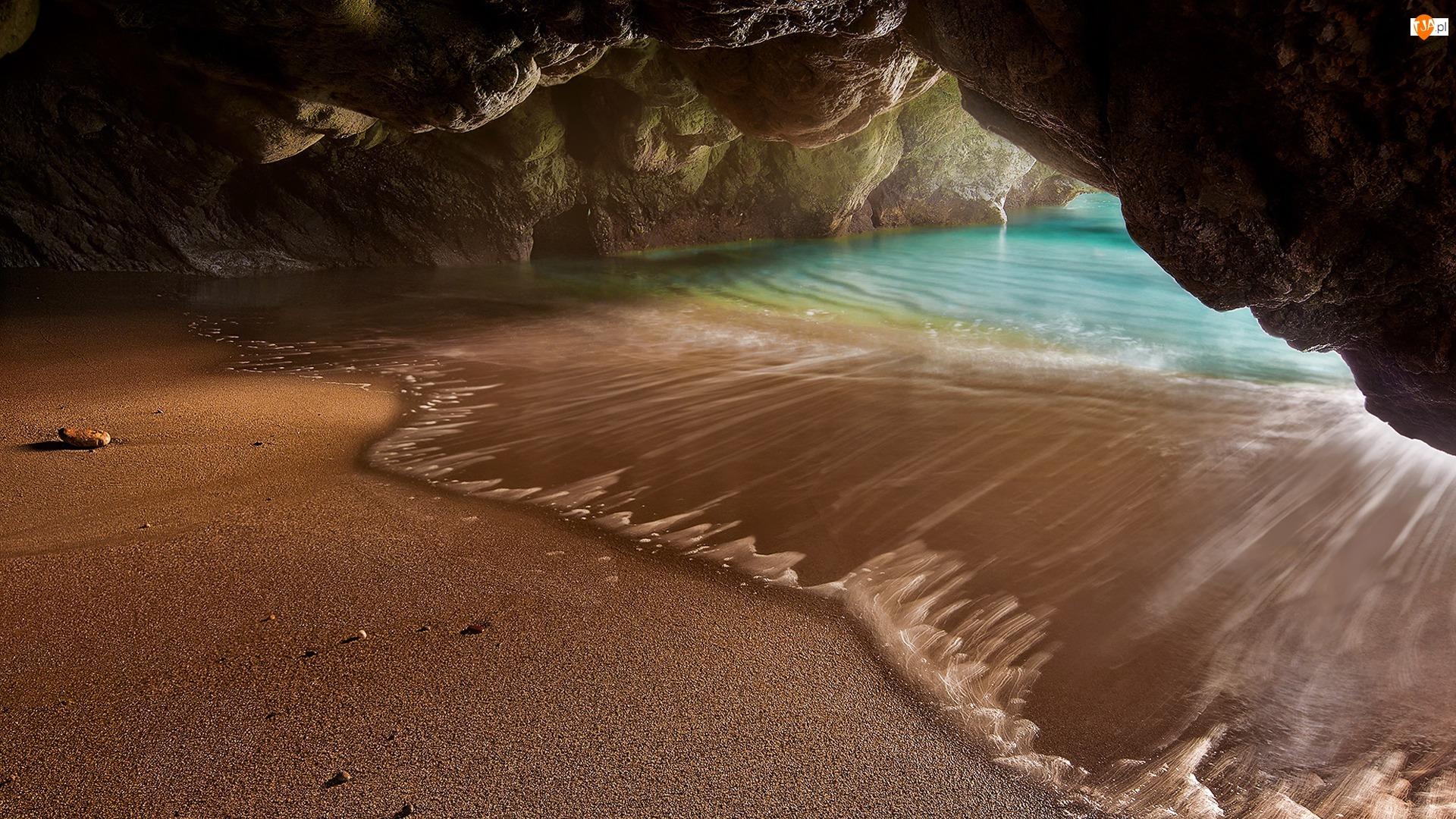 Woda, Włochy, Skały, Jaskinia, Fala