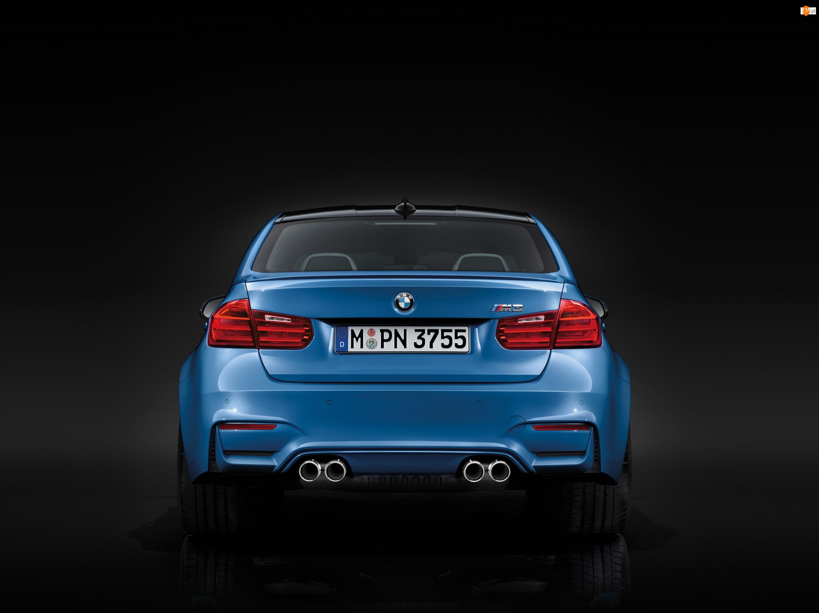 Niebieskie, rury wydechowe, BMW M3, tył