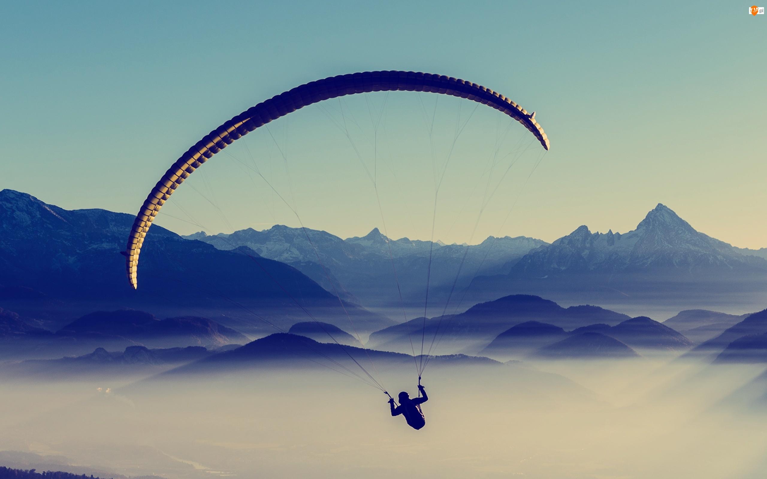 Góry, Widok, Paralotniarz, Paralotniarstwo