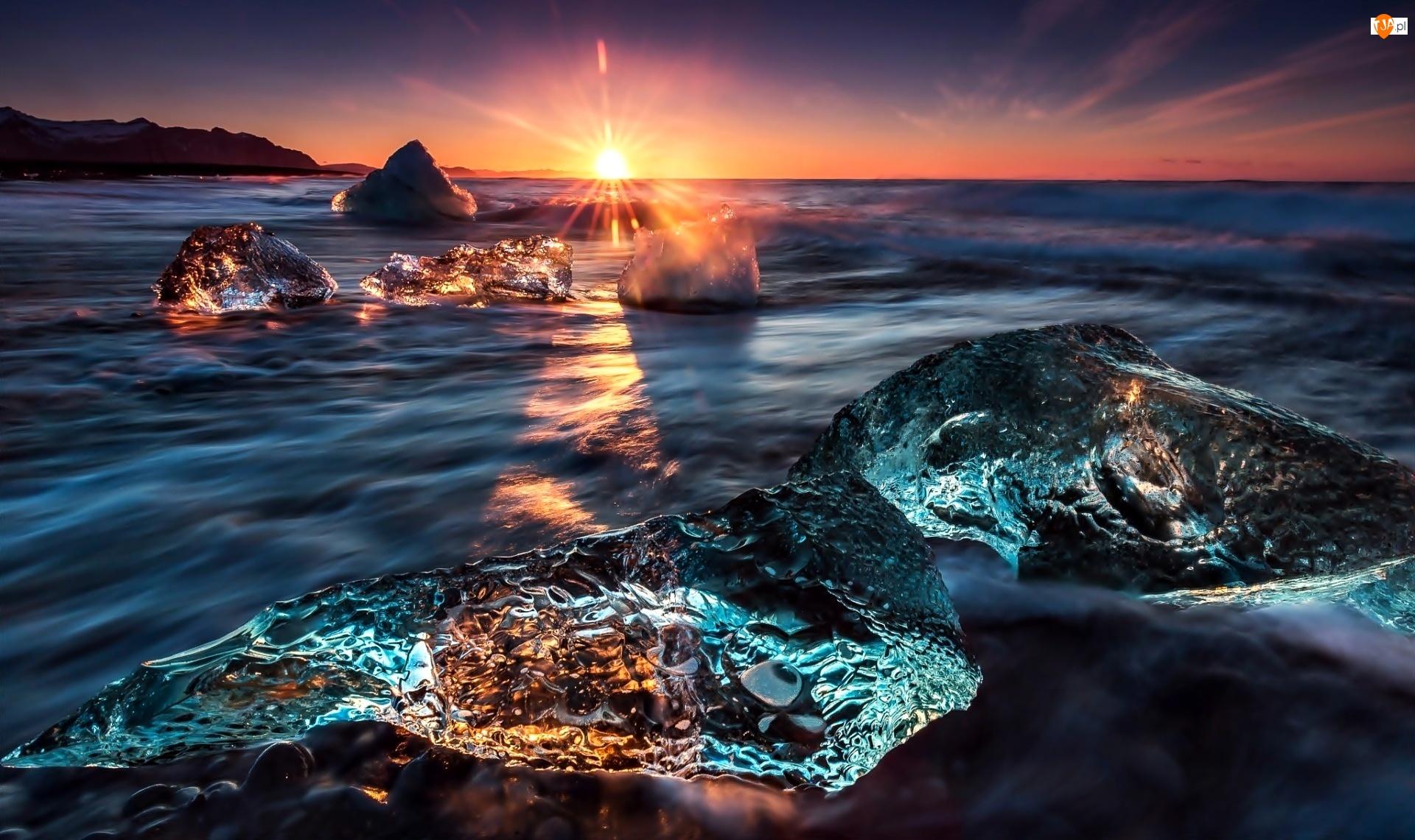 Laguny, Islandia, Zachód Słońca, Morze, Lody