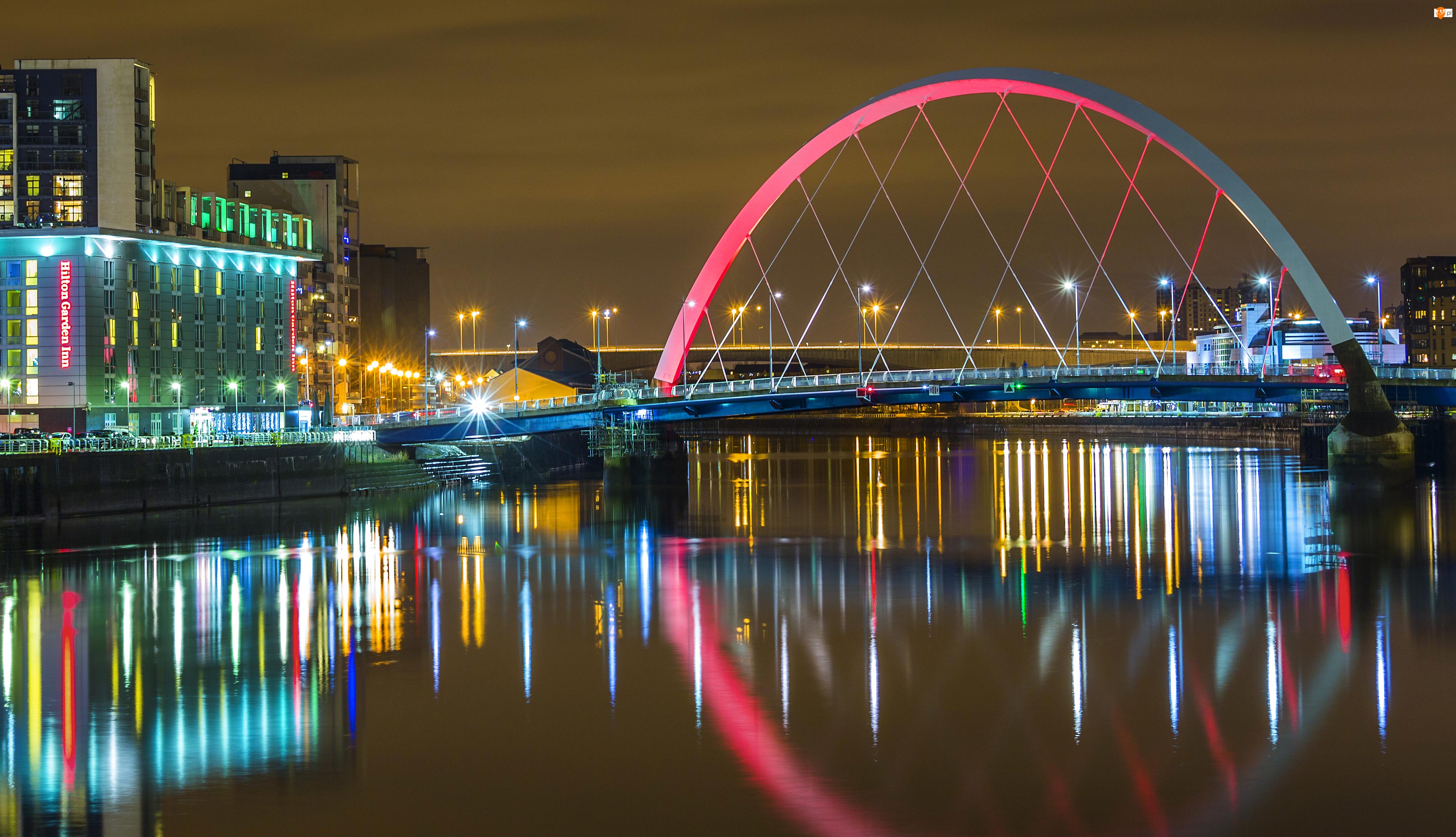 Dom, Rzeka, Wielka Brytania , Glasgow , Szkocja, Most, Noc