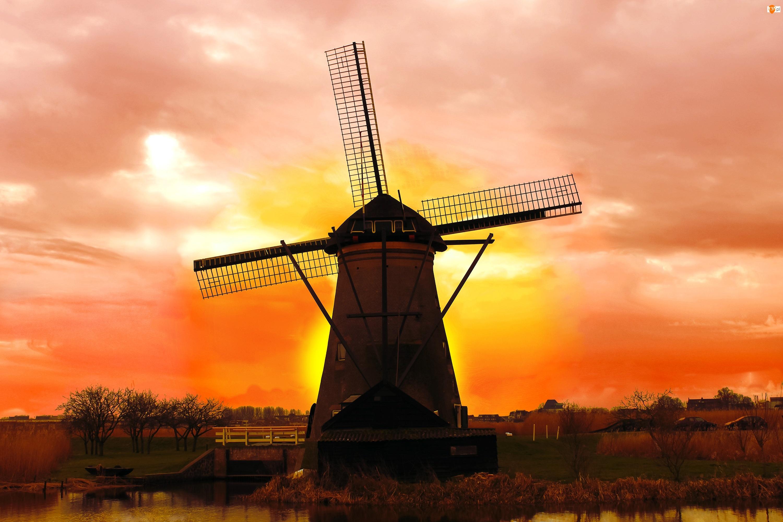 Holandia, Wiatrak, Wschód Słońca