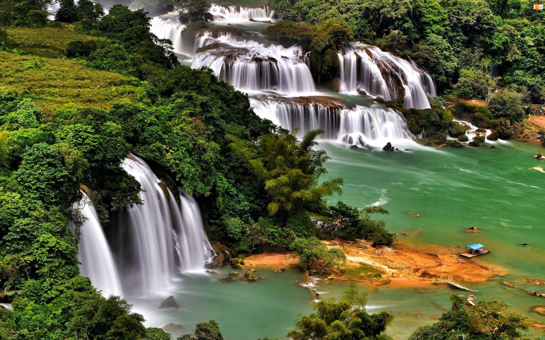 Rzeka, Las, Wodospad, Drzewa, Kaskada, Tratwa