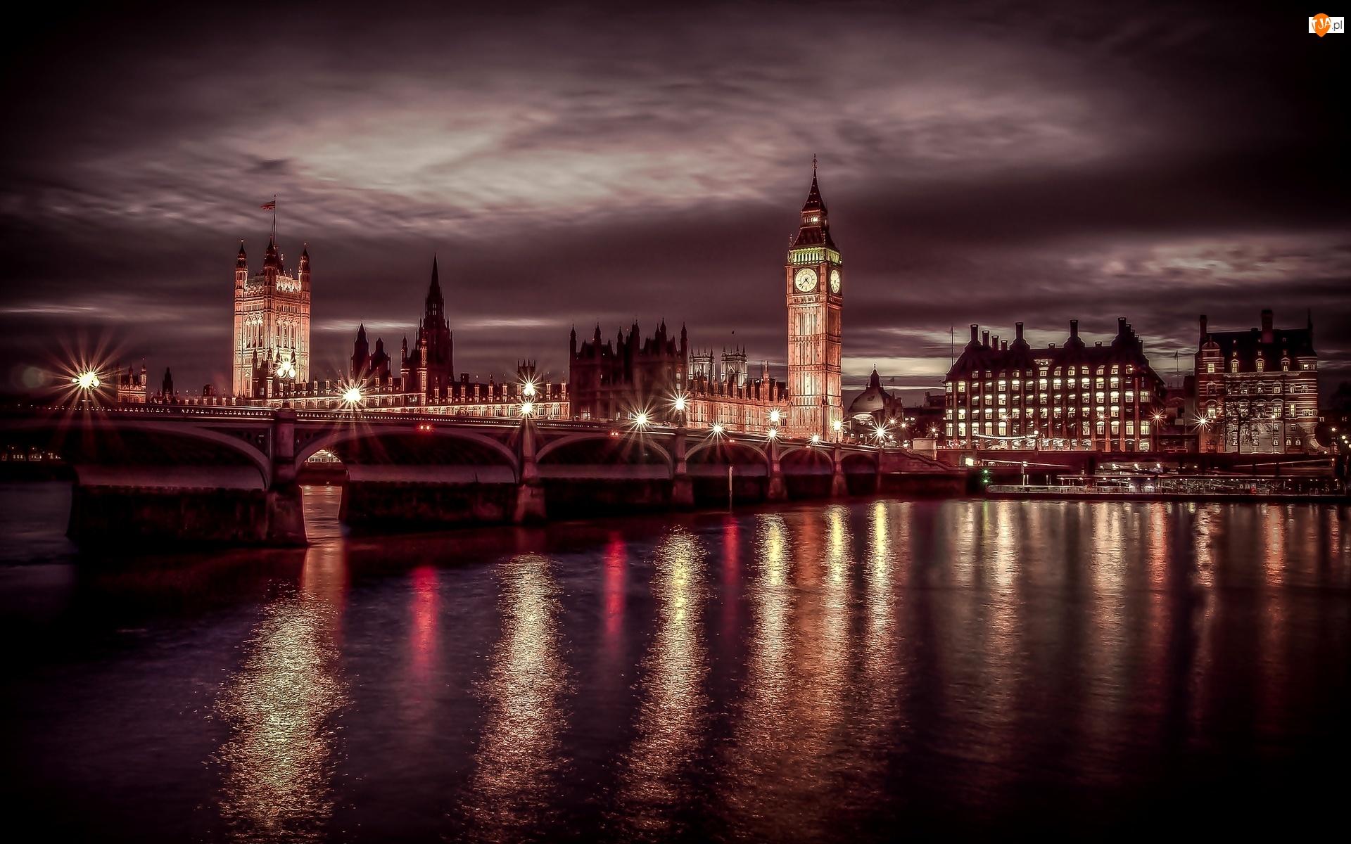 Londyn, Rzeka, Miasto Nocą, Most
