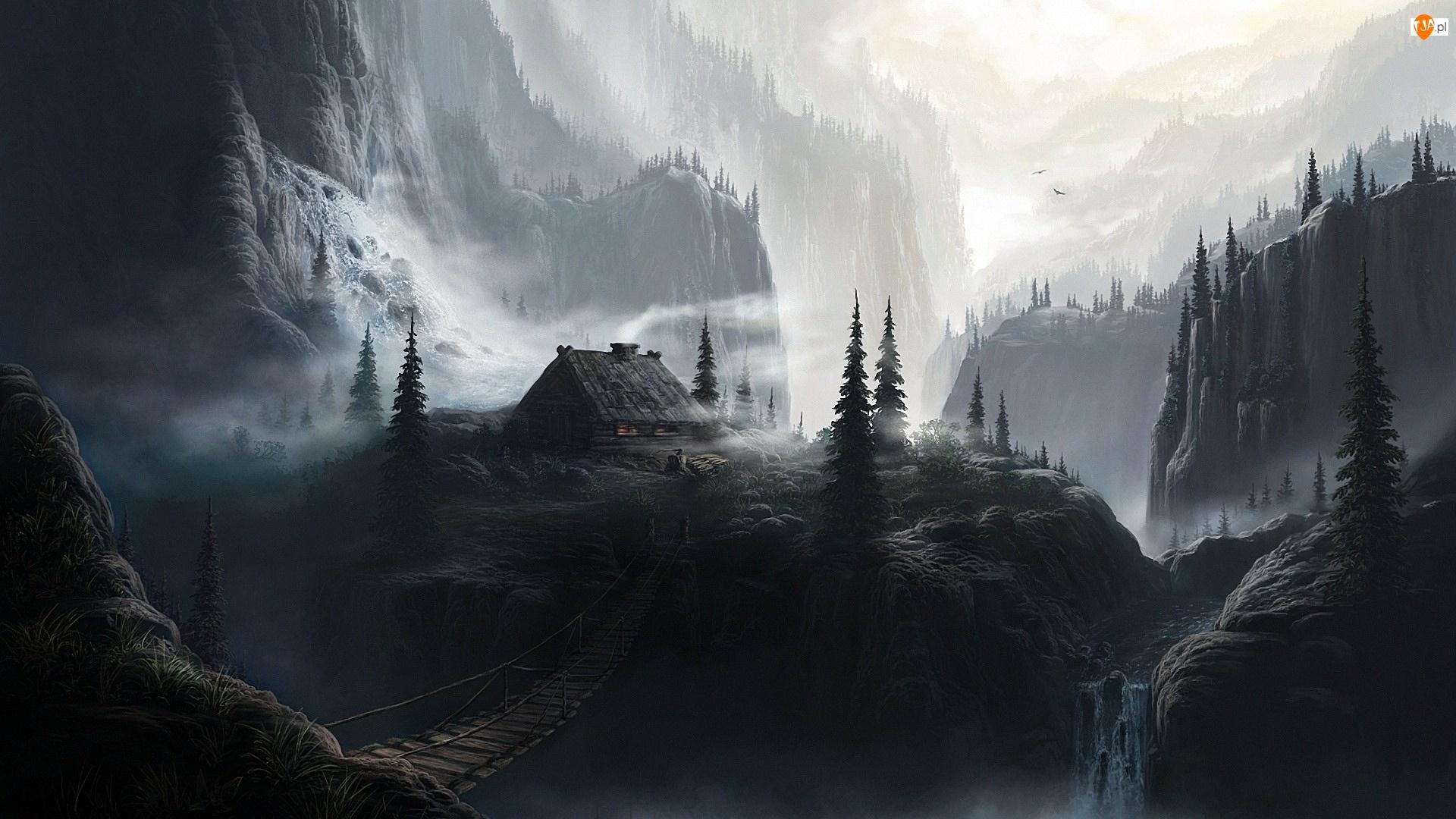 Góry, Mgła, Las, Domek