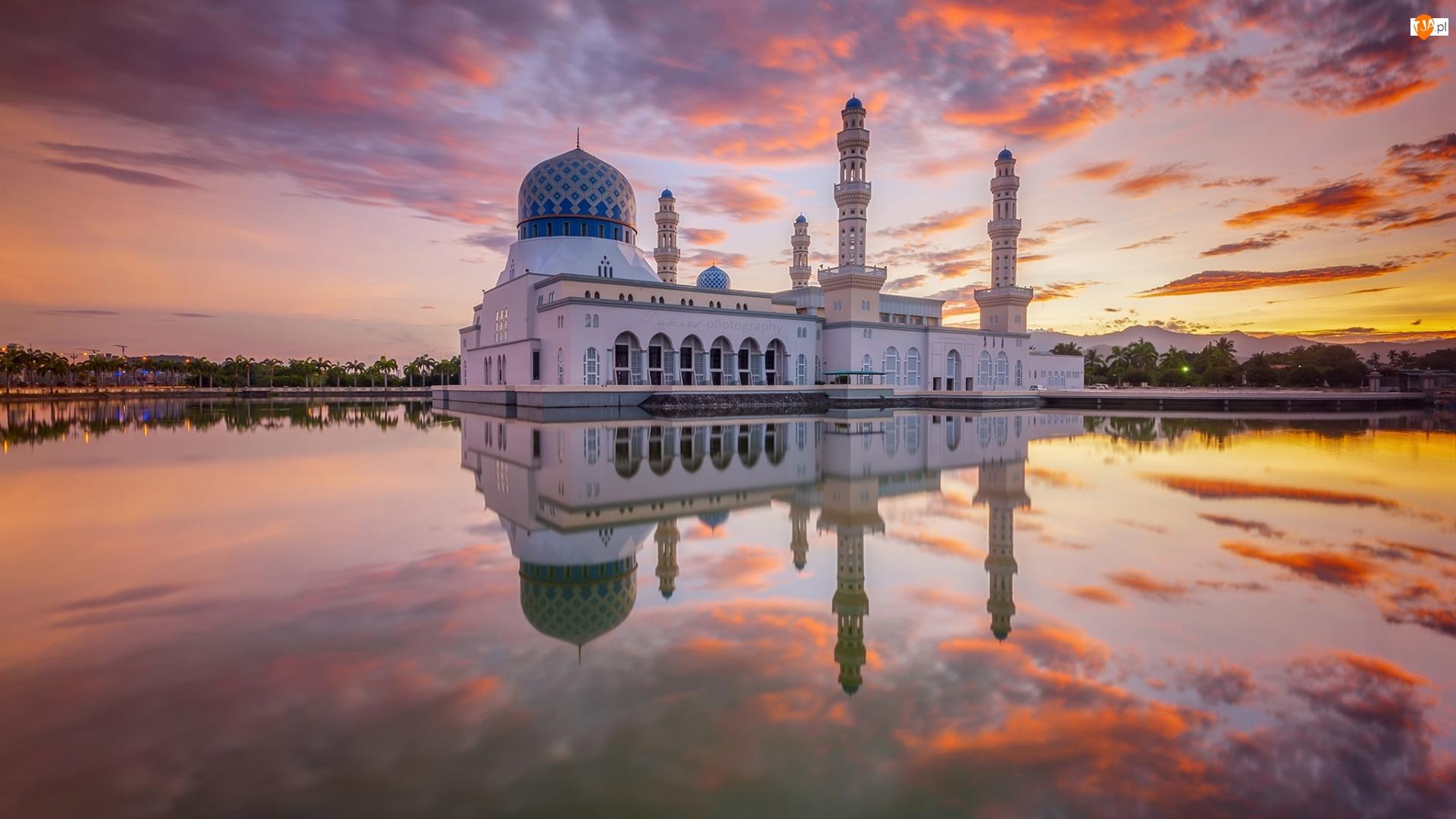 Malezja, Zachód Słońca, Kota Kinabalu, Meczet
