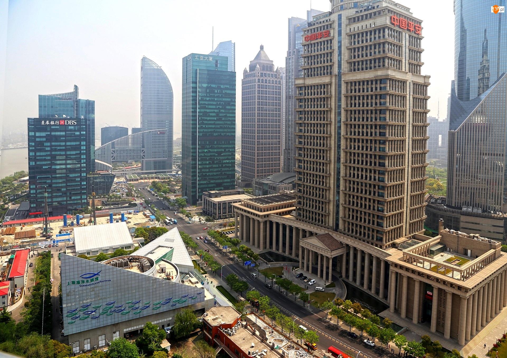 Wieżowce, Chiny, Ulica, Szanghaj