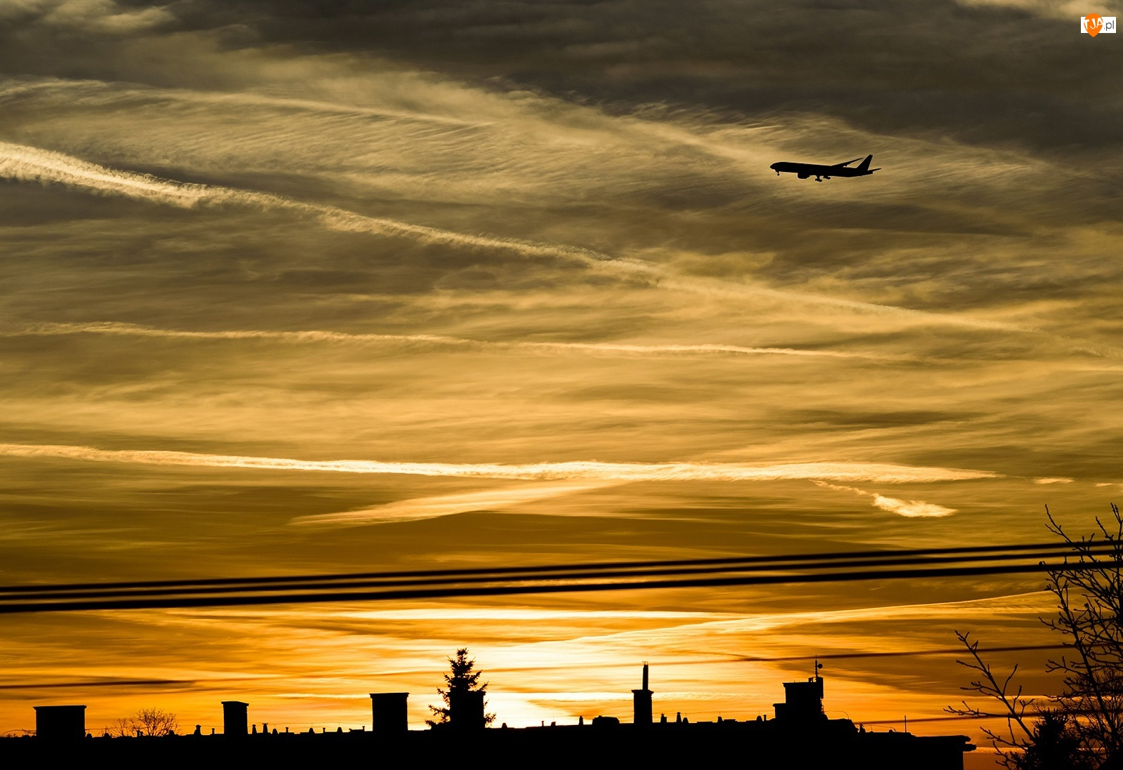 Samolot, Niebo, Zachód, Chmury, Słońca