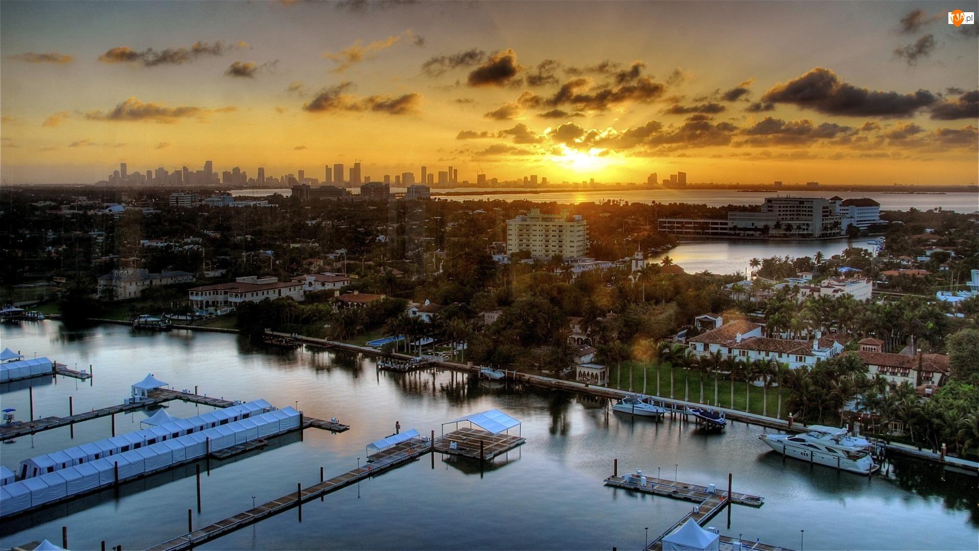 Miasto, Wybrzeże, Stany Zjednoczone, Jacht, Miami, Zachód Słońca