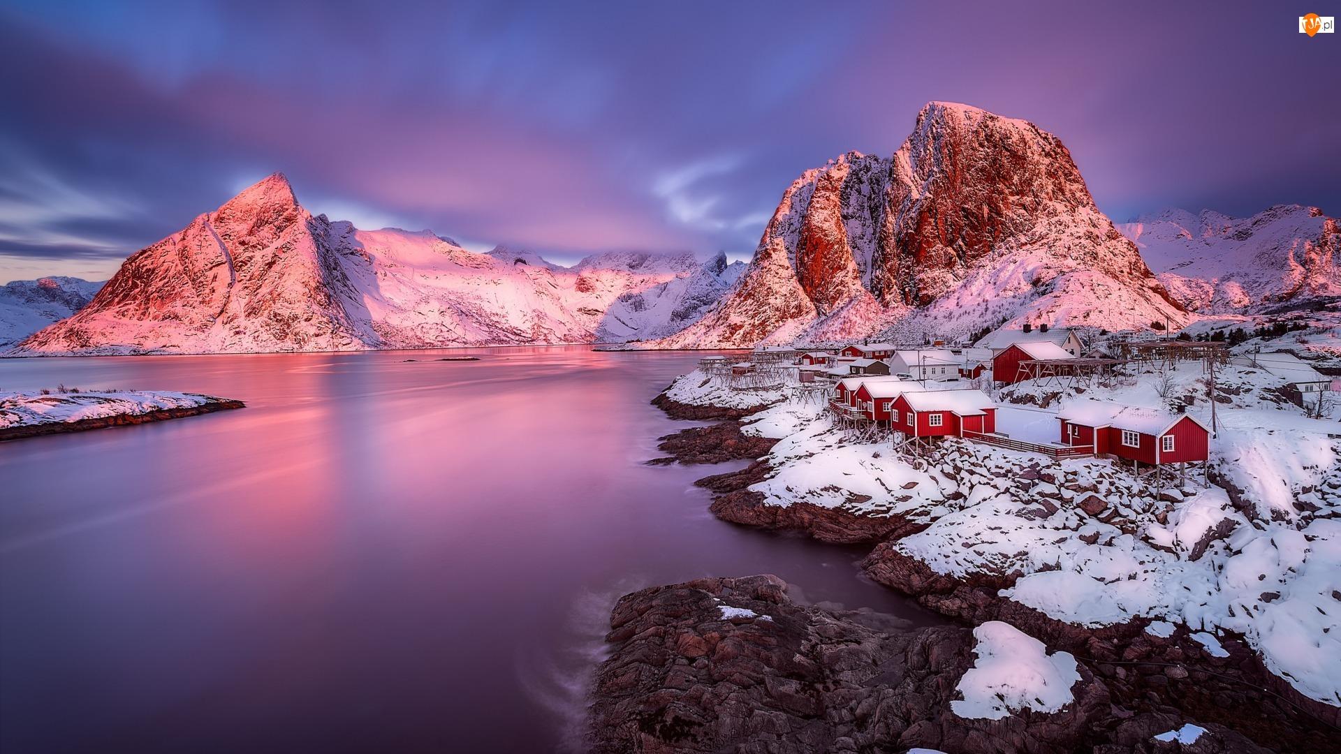 Zima, Góry, Wioska Hamnøy, Skały, Norwegia, Domy, Lofoty, Morze