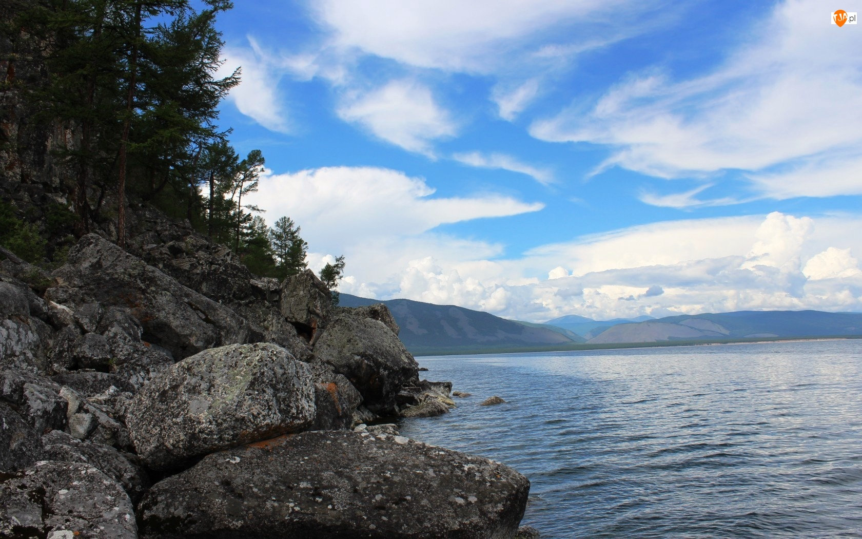 Rosja, Góry, Skały, Jezioro, Bajkał