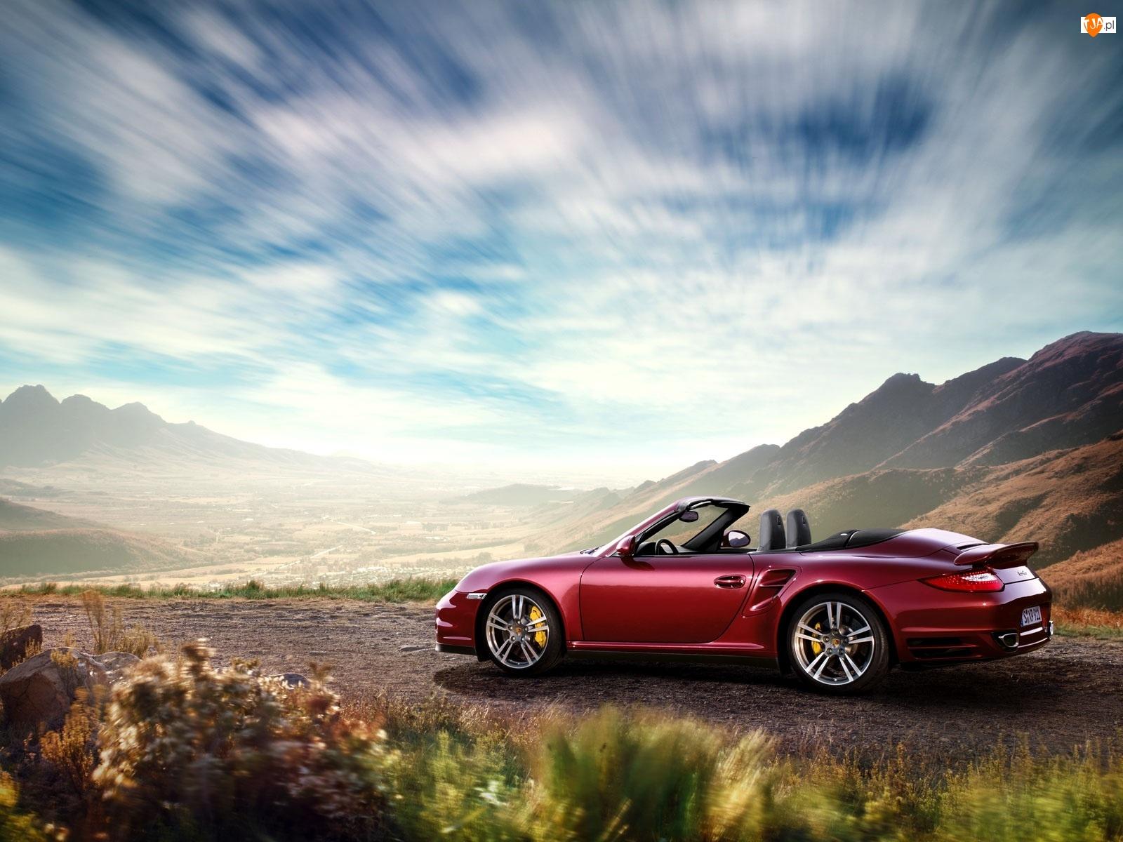 Niebo, Porsche, Góry, 911, Droga