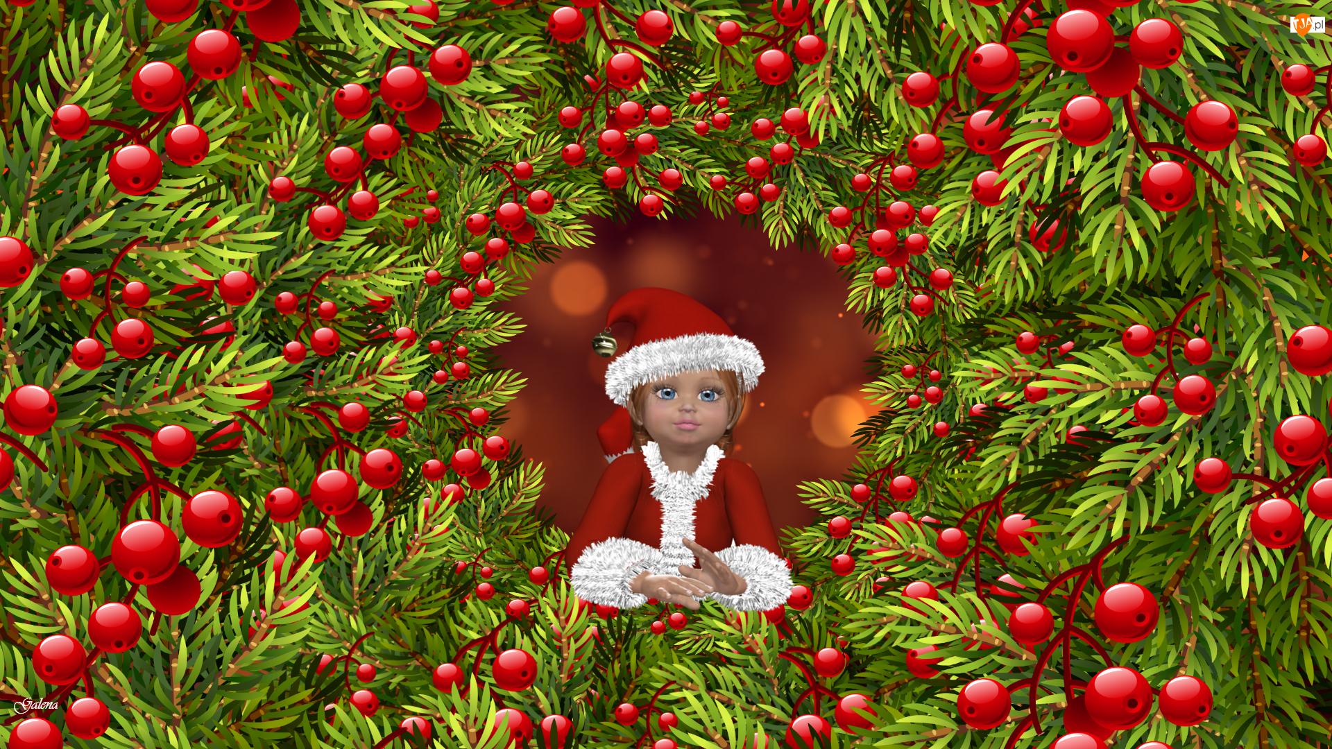 Laleczka, Grafika 2D, Gałązki, Świąteczna