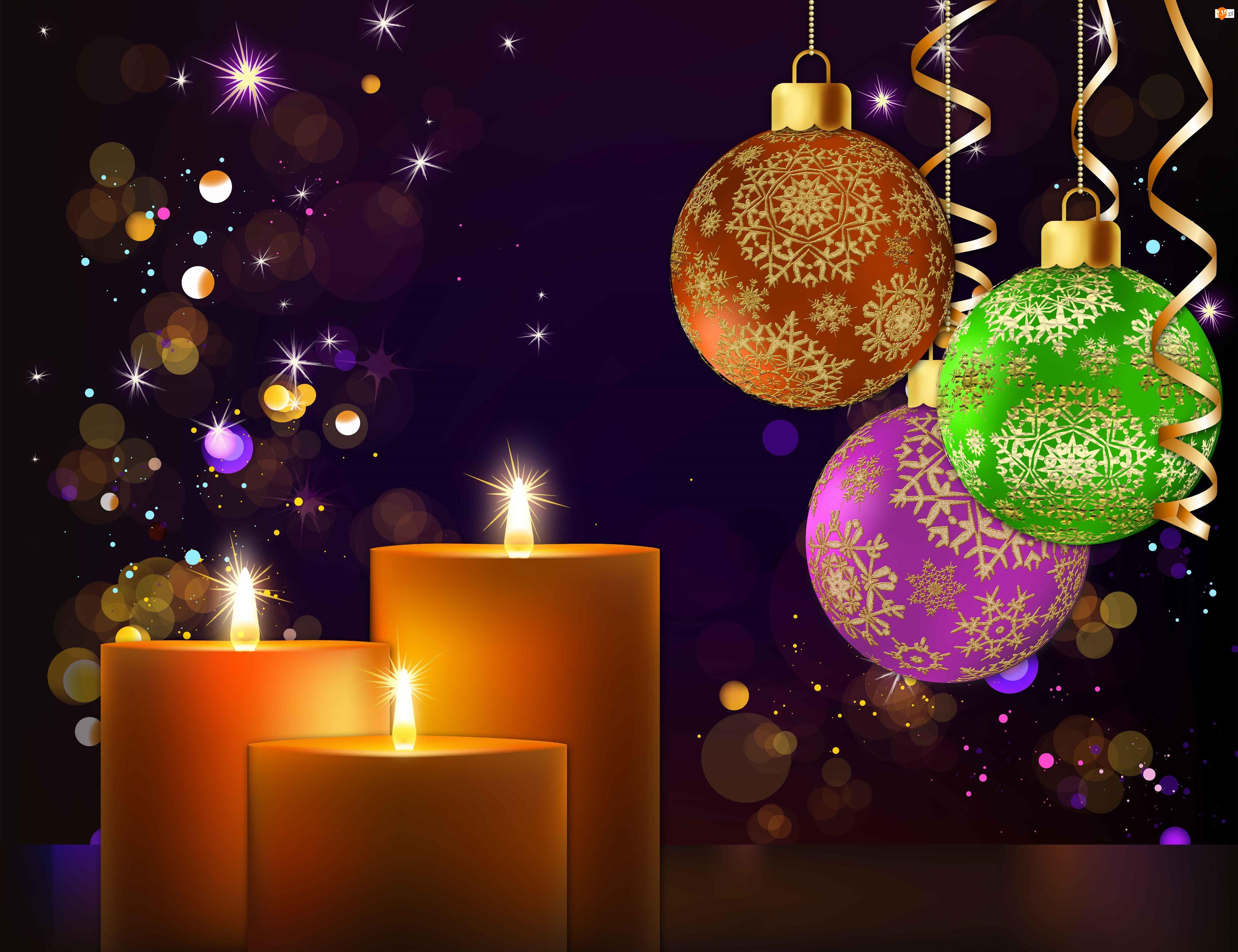 Boże Narodzenie, Świeczki, Dekoracja, Bombki