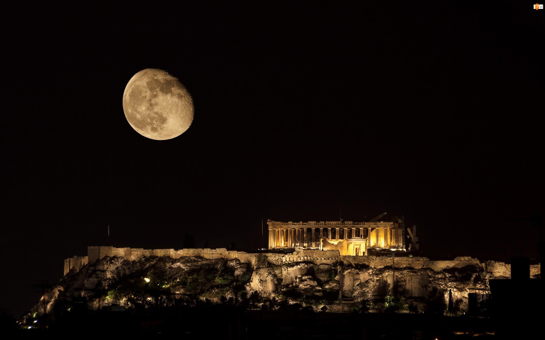 Ateny, Akropol ateński, Księżyc, Ruiny, Grecja, Noc