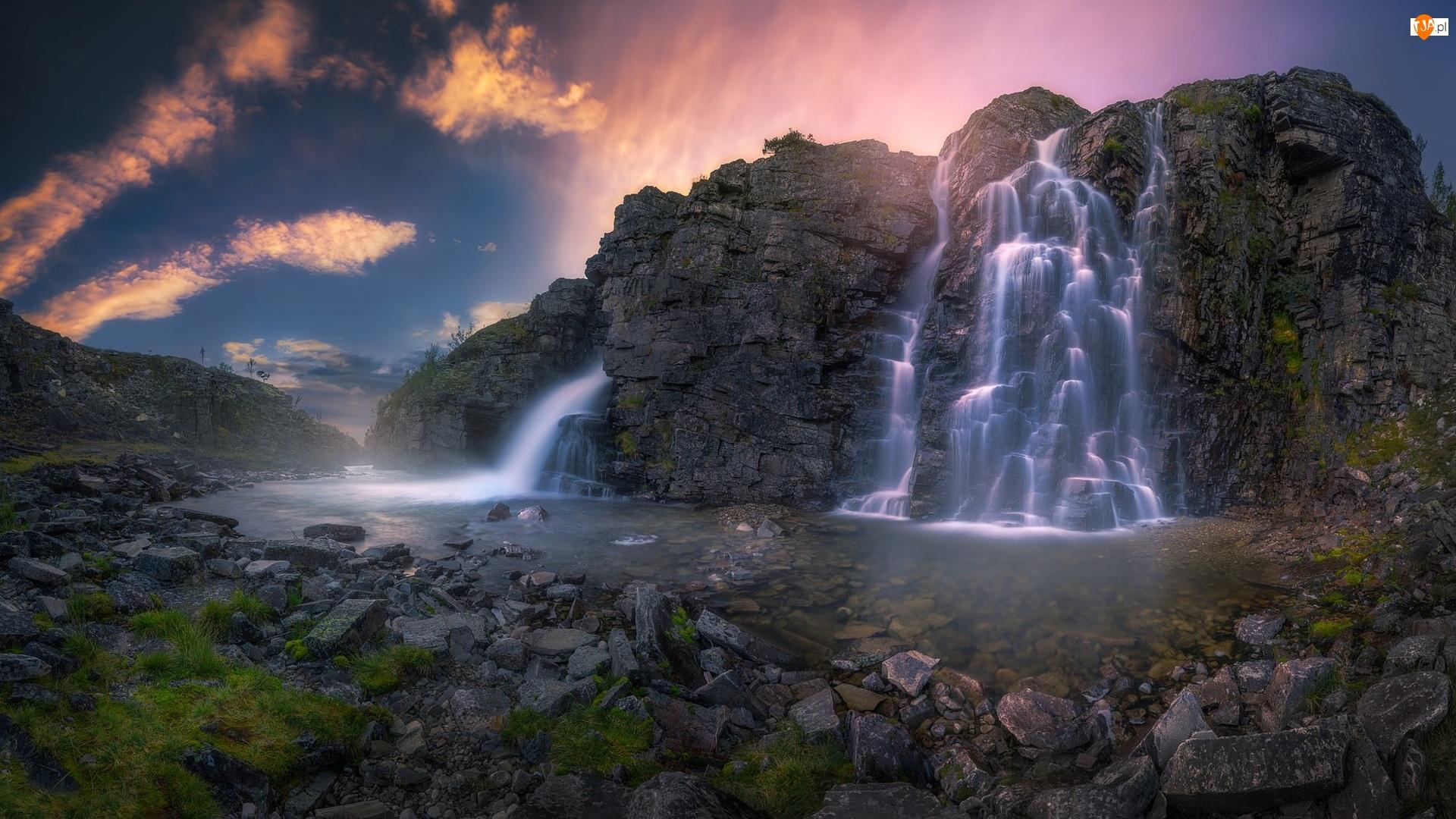 Góry, Rzeka, Norwegia, Skały, Park Narodowy Rondane, Wodospad