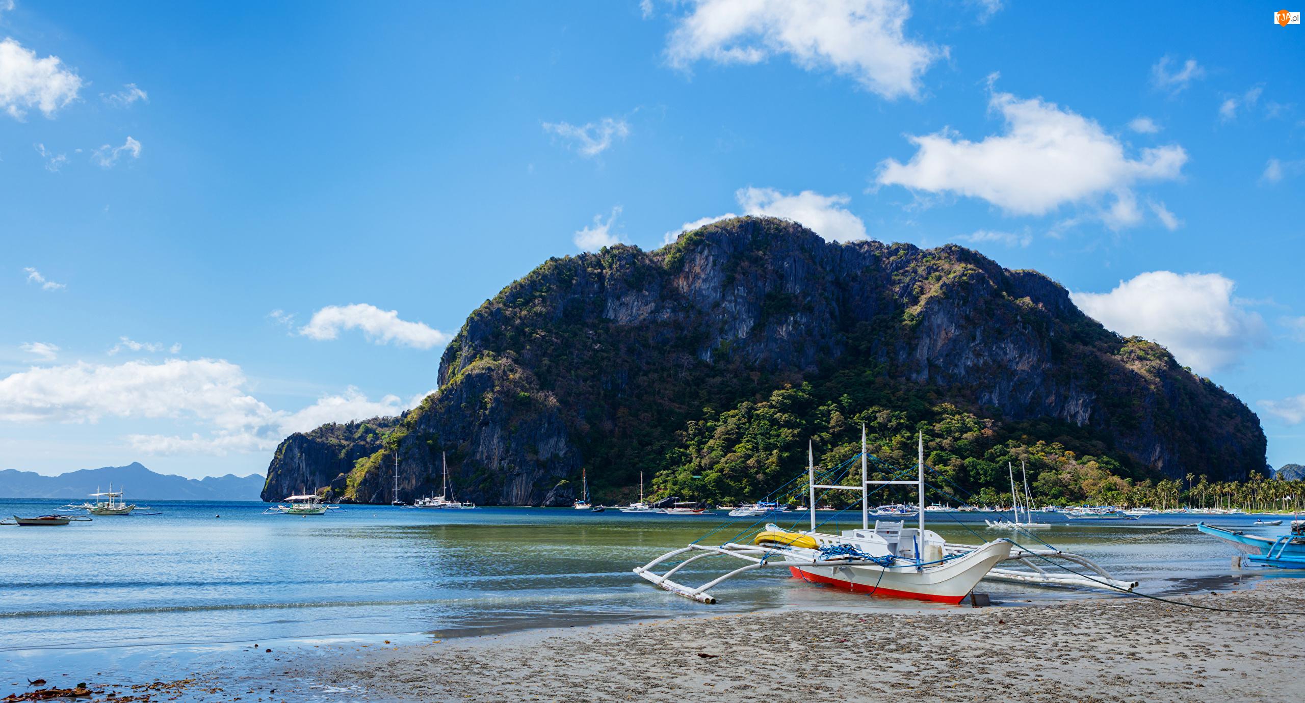 Filipiny, Łódki, Morze, Skały