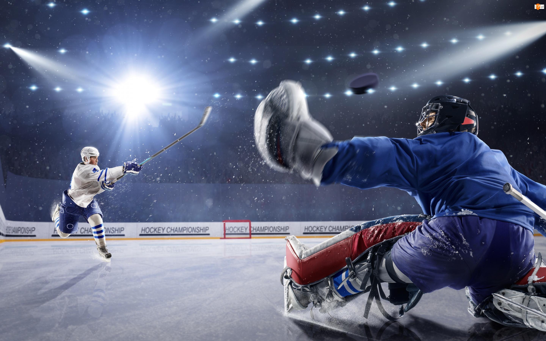 Bramkarz, Światła, Hokej, Lodowisko, Zawodnicy, Napastnik