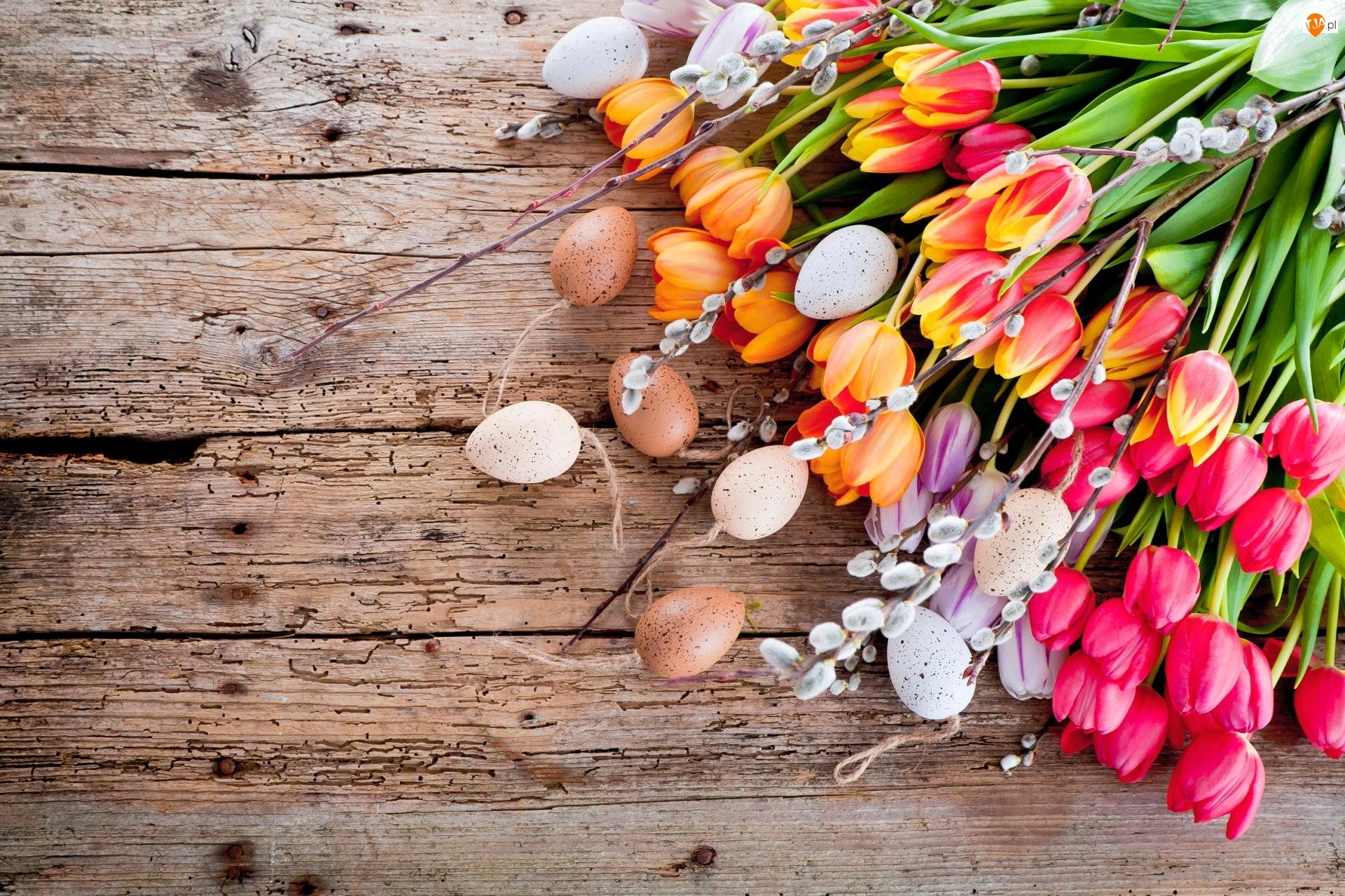 Bazie, Kompozycja, Pisanki, Wielkanoc, Tulipany