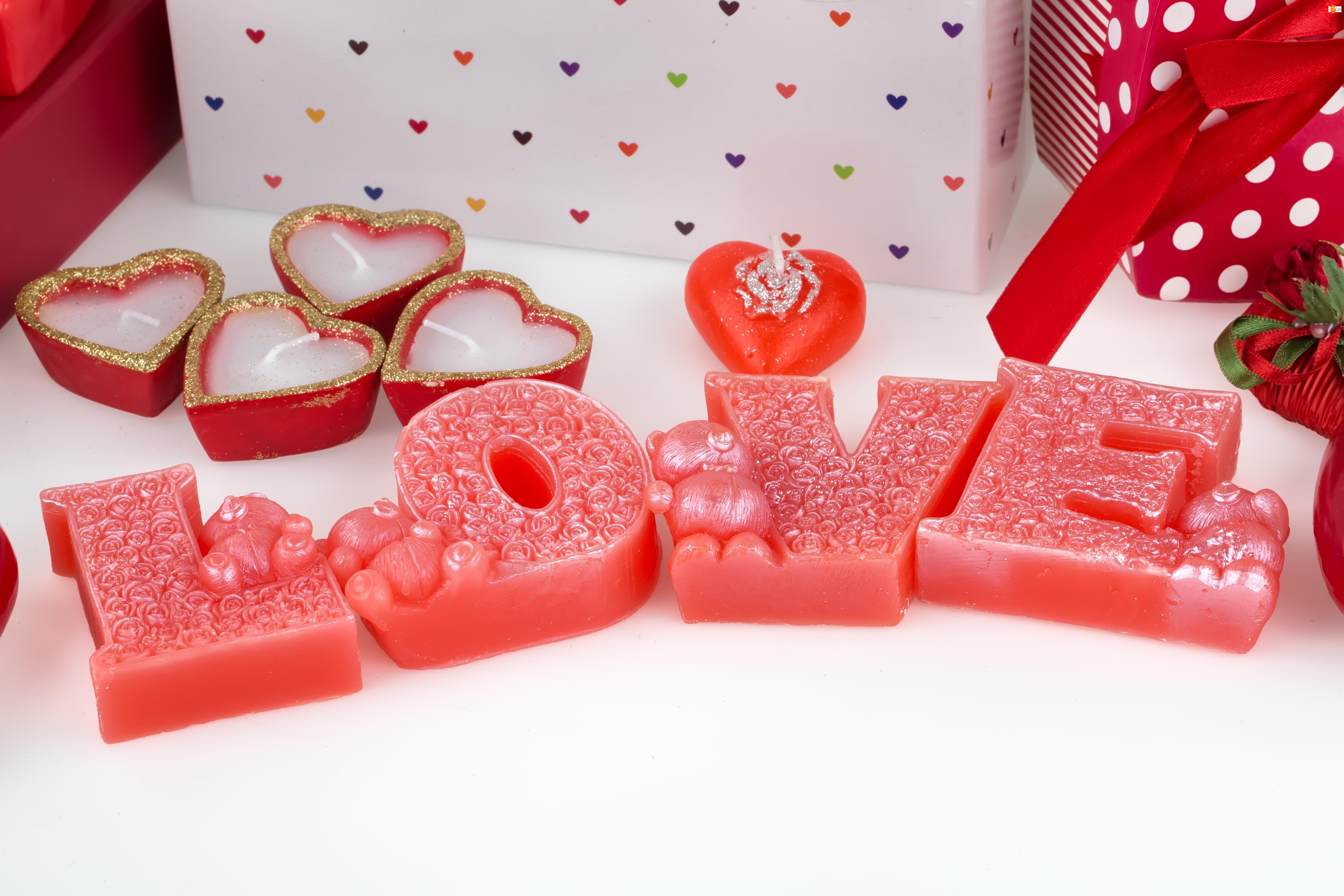 Ozdobne, Walentynki, Świece, Serca