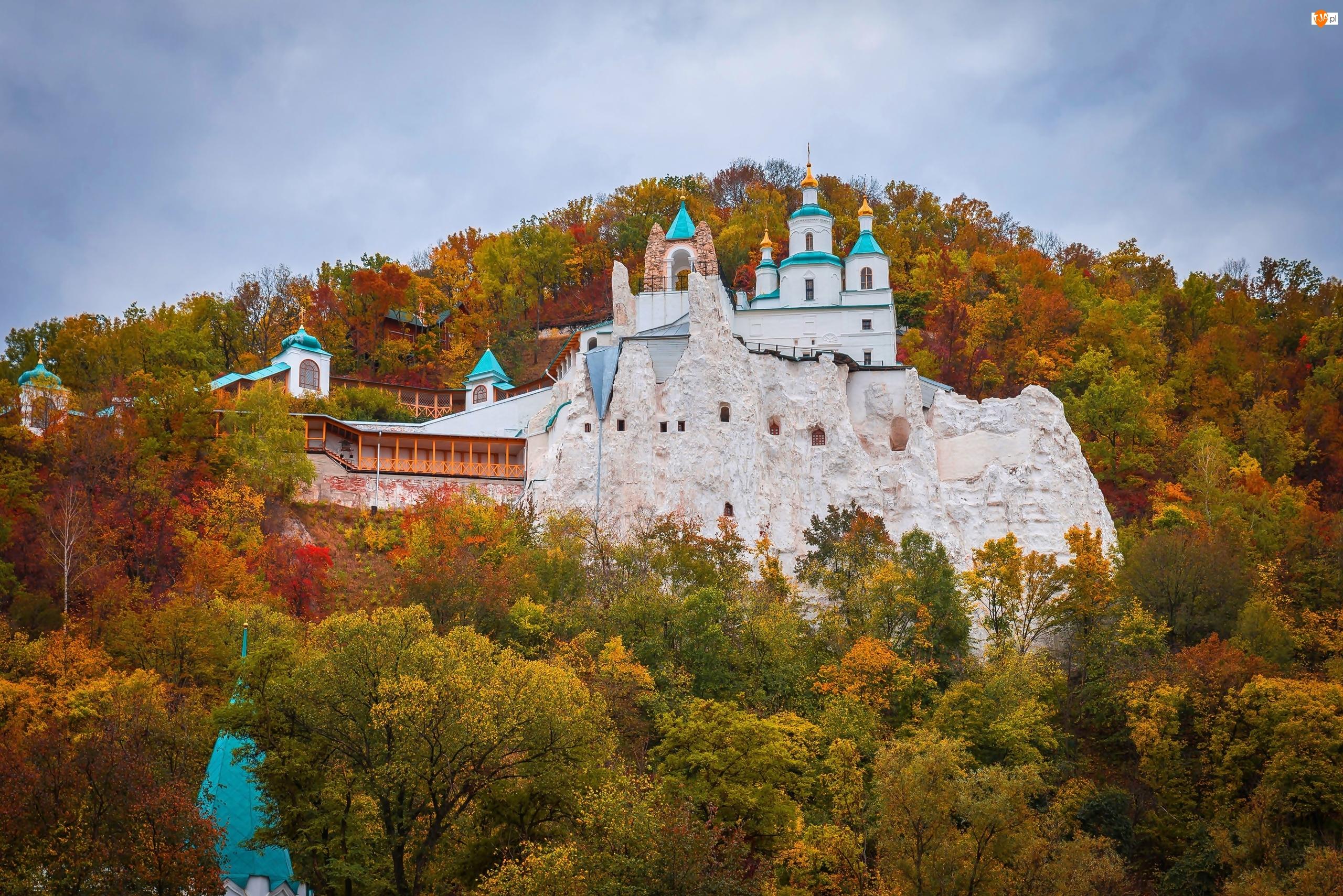 Jesień, Ukraina, Klasztor, Ławra Świętogórska, Lasy