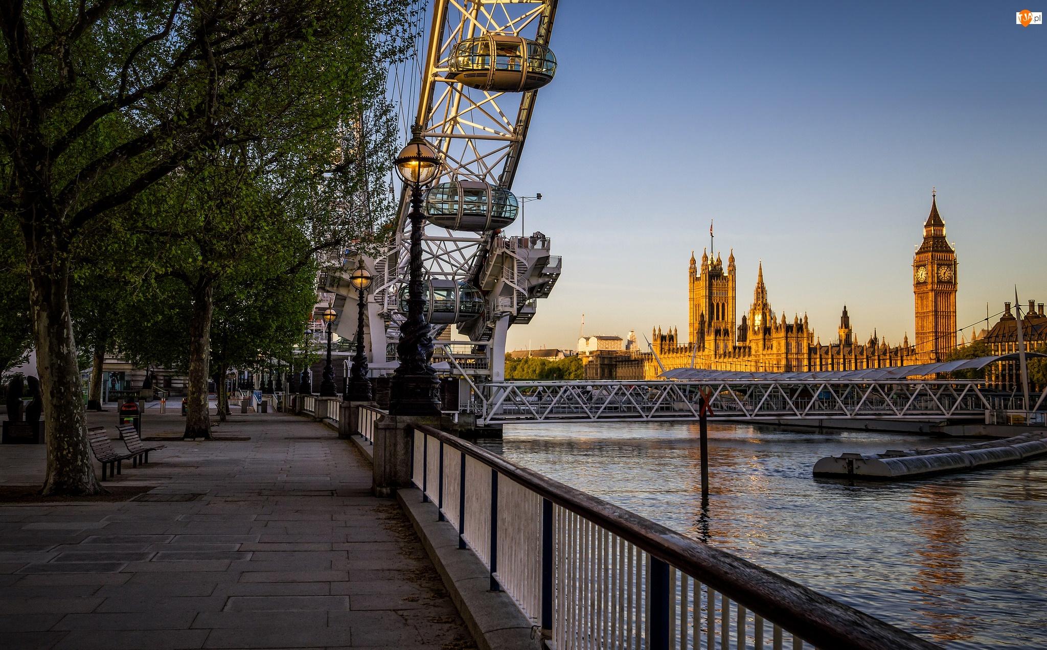 Big Ben, Bulwar, Londyn, Koło obserwacyjne, Anglia, London Eye, Pałac Westminsterski, Rzeka Tamiza