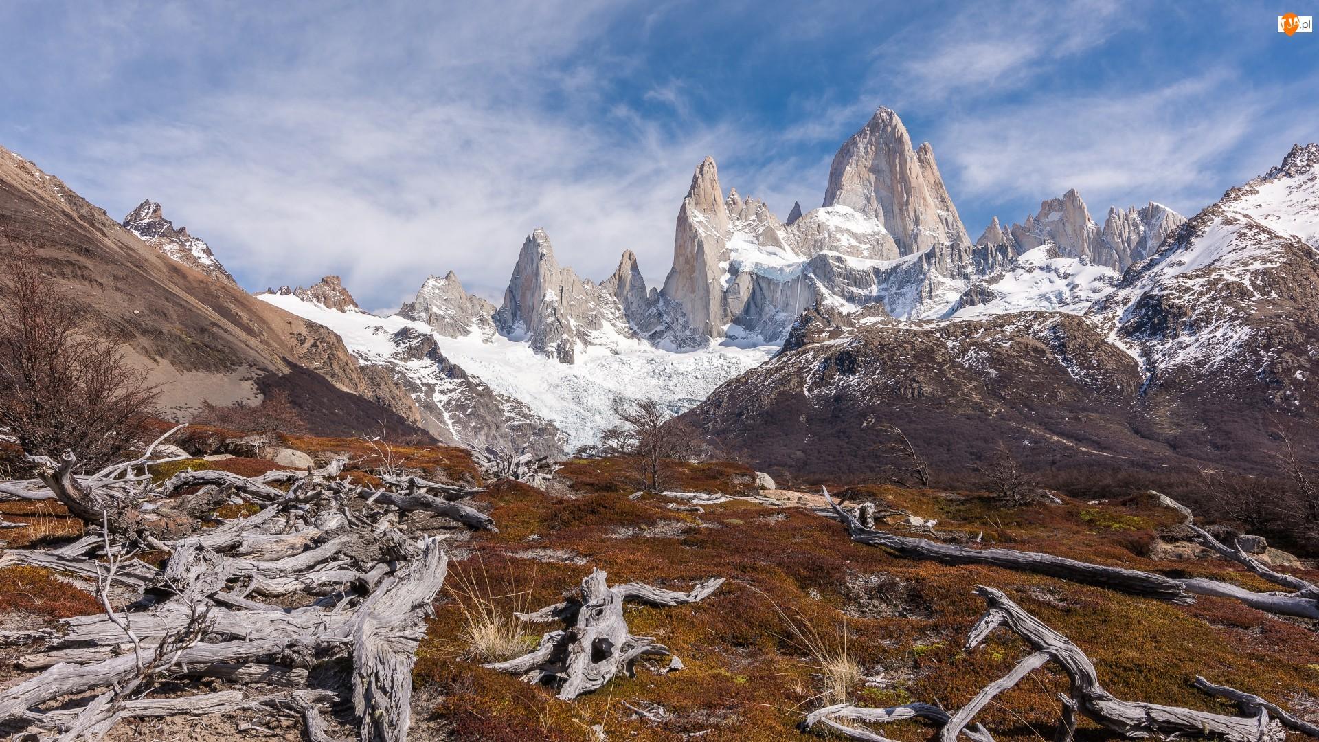 Jesień, Ameryka Południowa, Góry, Patagonia, Szczyt Fitz Roy