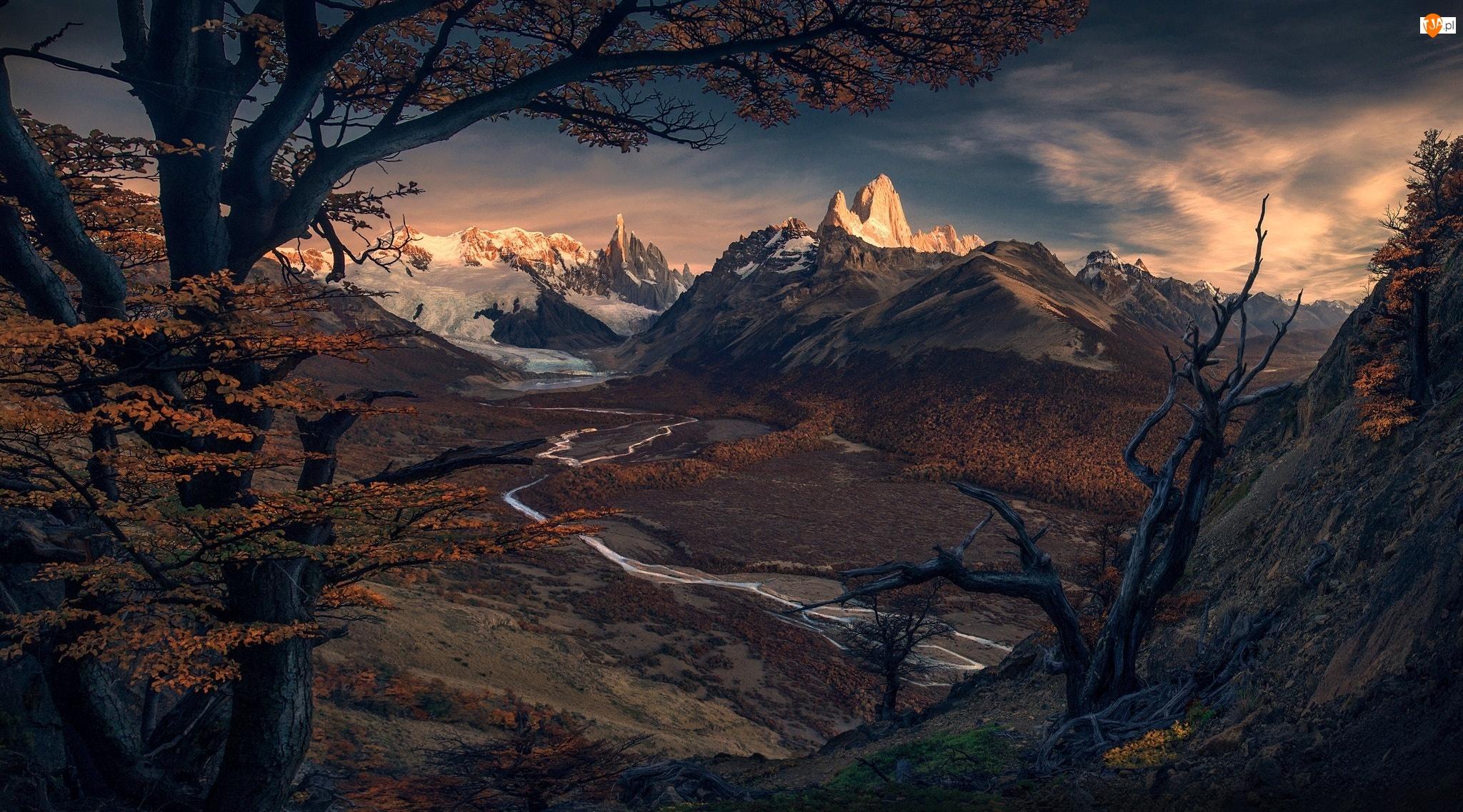 Patagonia, Szczyt Fitz Roy, Park Narodowy Los Glaciares, Drzewa, Argentyna, Rzeka Rio de las Vueltas, Góry, Jesień