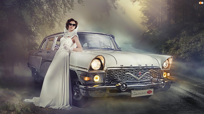 Samochód, Okulary, Gaz-13 Czajka, Kobieta