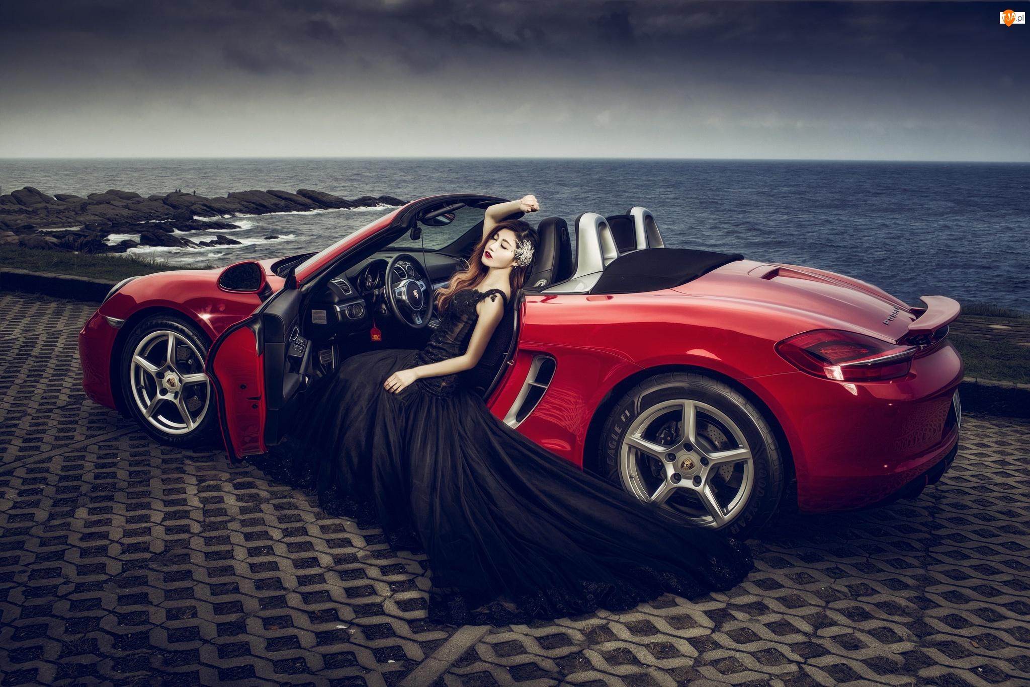 Czarna, Kobieta, Porsche, Czerwone, Suknia