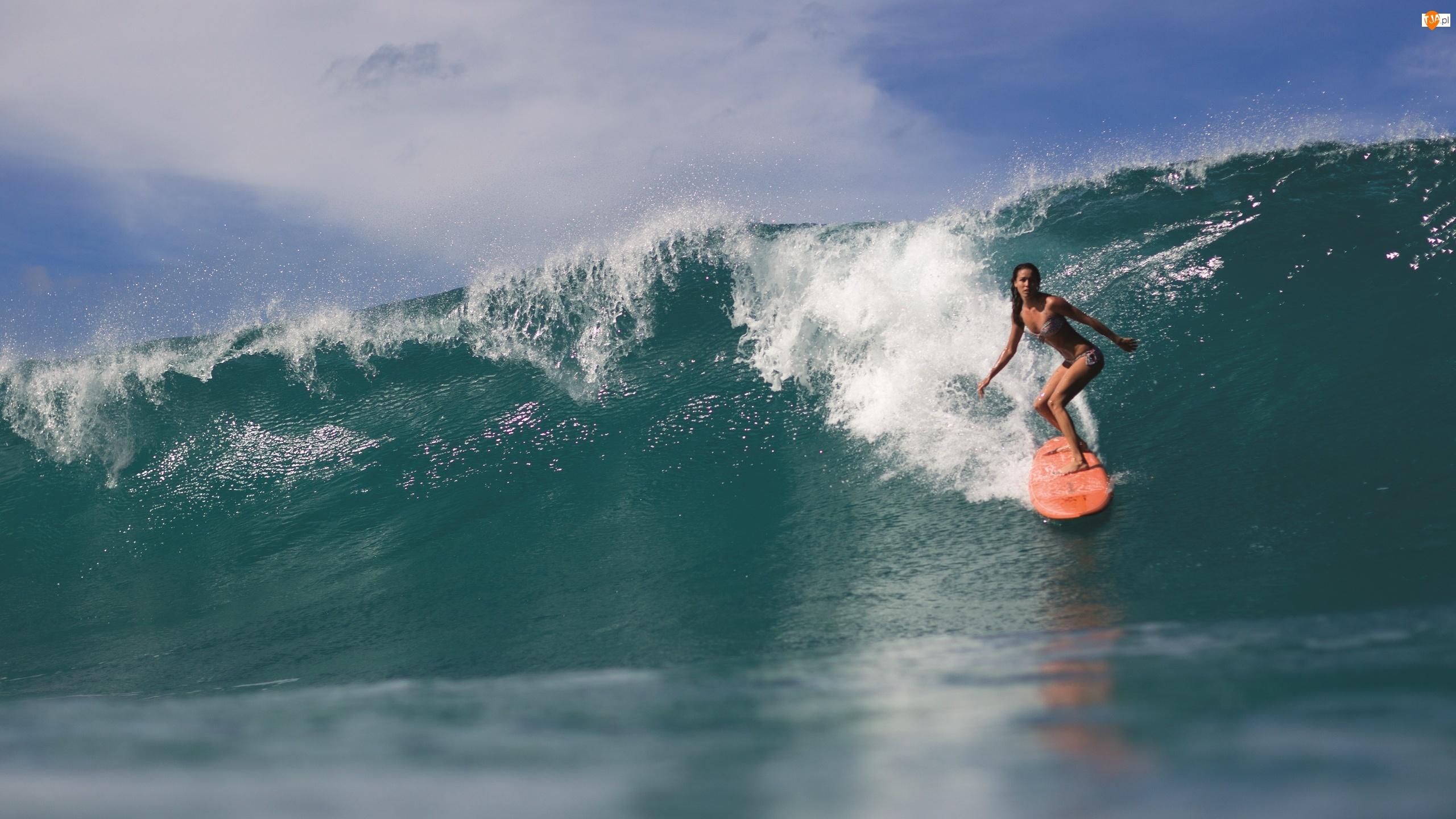 Morze, Windsurfing, Fala, Dziewczyna