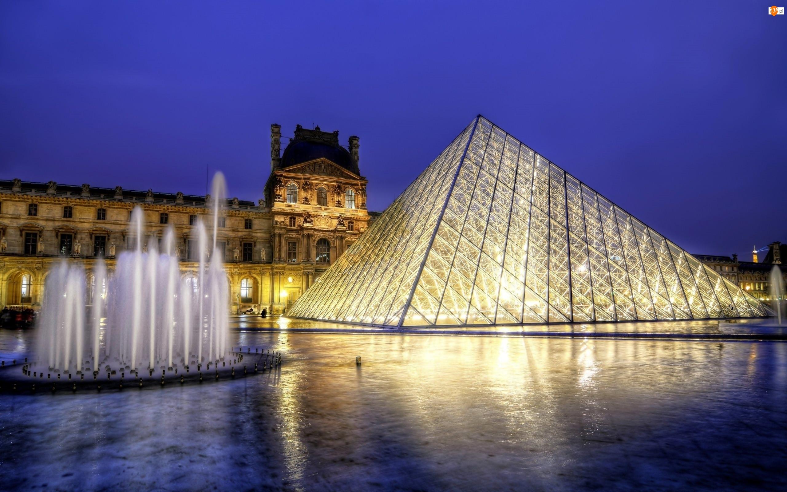 Muzeum Sztuki, Fontanna, Francja, Piramida, Paryż, Luwr