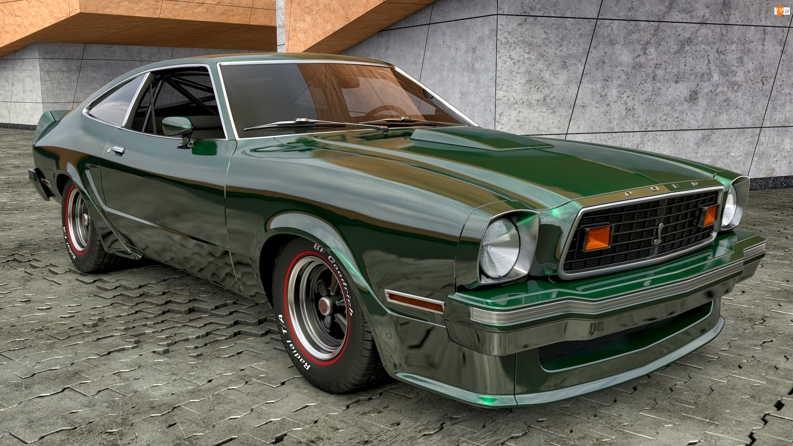 Zabytkowy, 1978, Zielony, Ford Mustang King Cobra