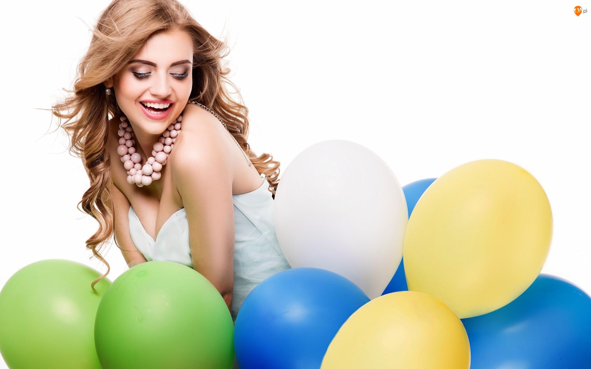 Uśmiech, Kobieta, Zabawa, Balony, Twarz