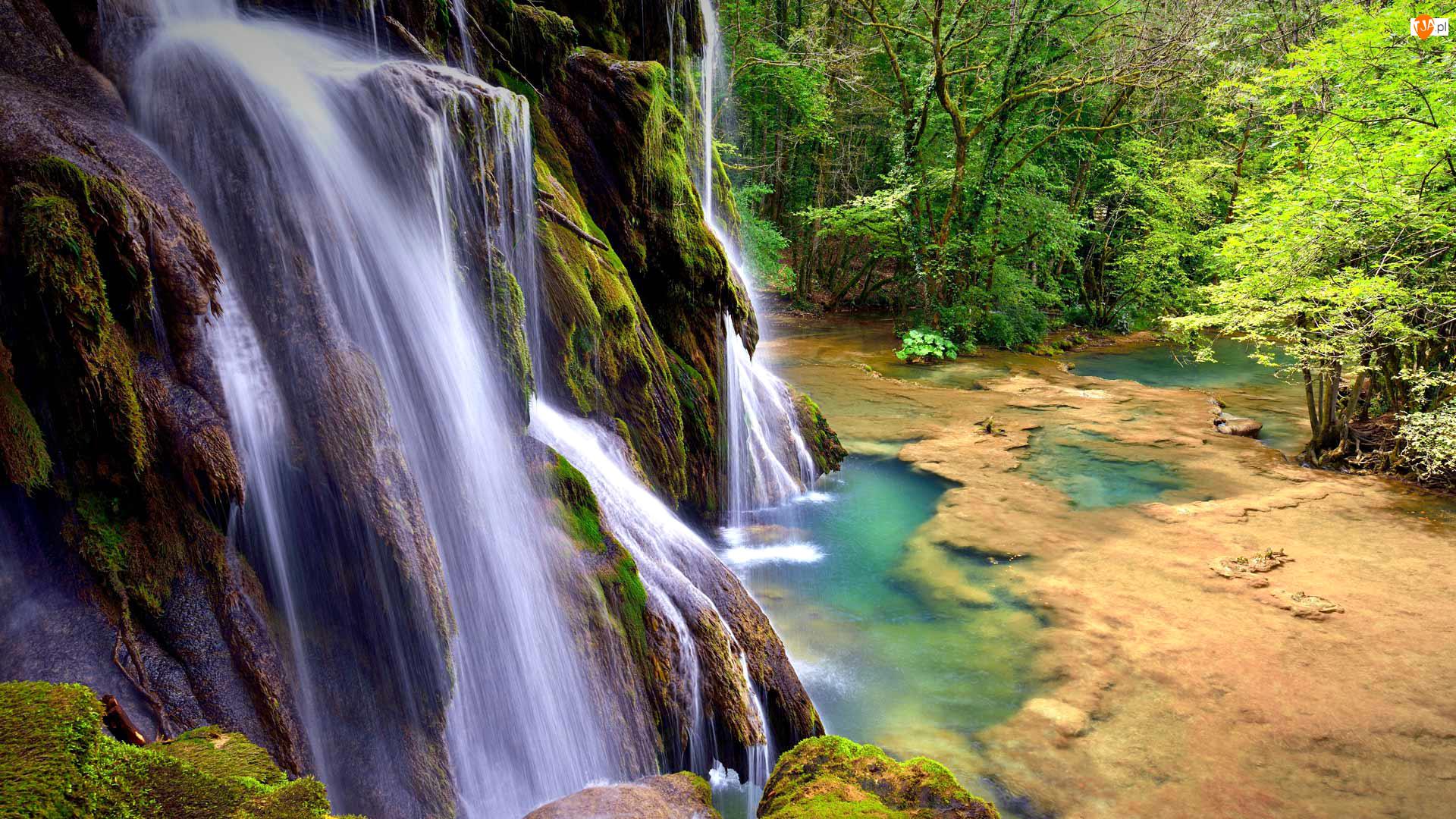 Francja, Drzewa, Region Franche-Comté, Wodospad