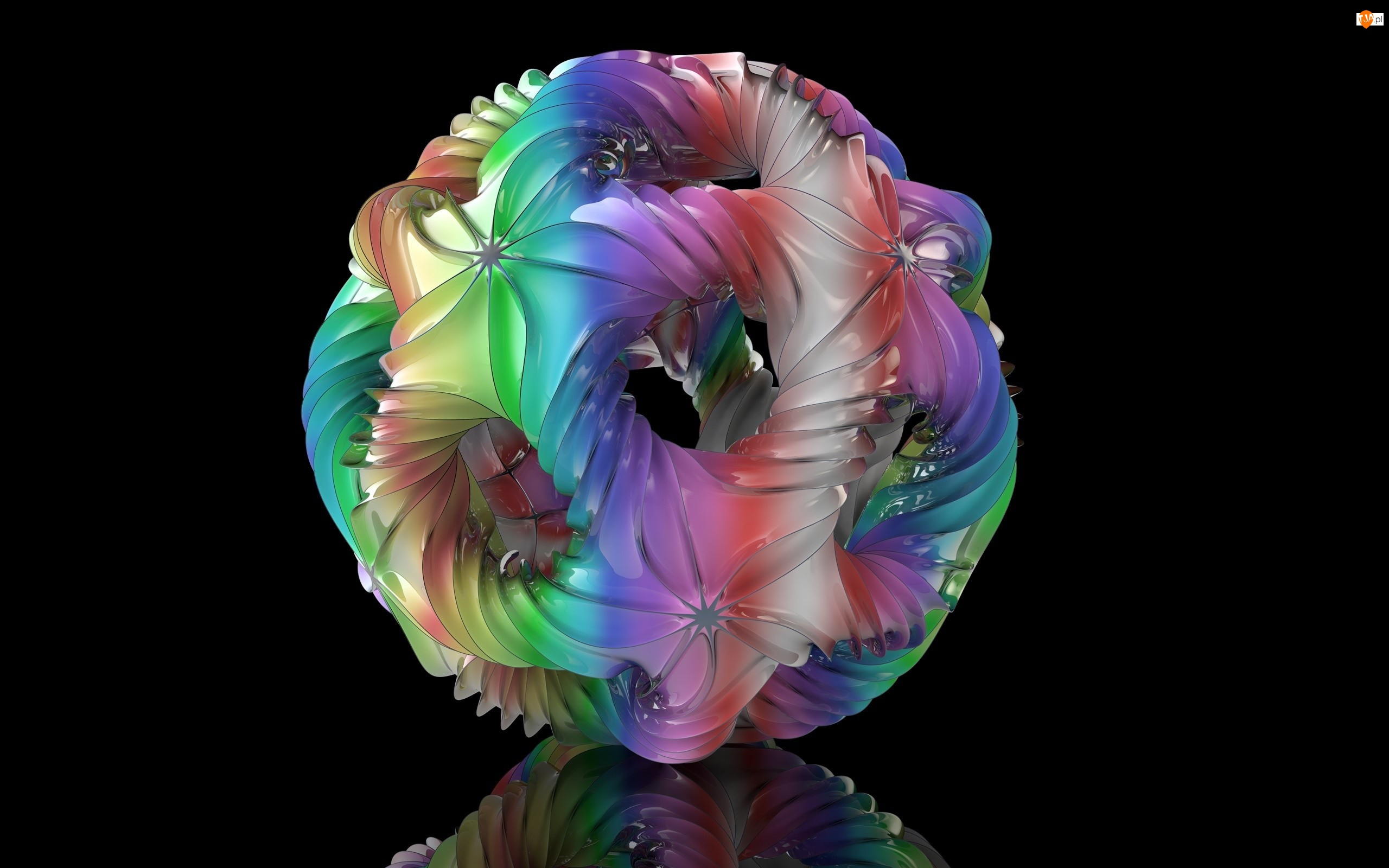 Grafika 3D, Czarne tło, Kula, Odbicie